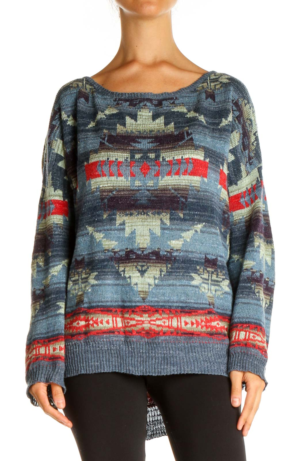 Blue Aztec Print All Day Wear Sweater Front