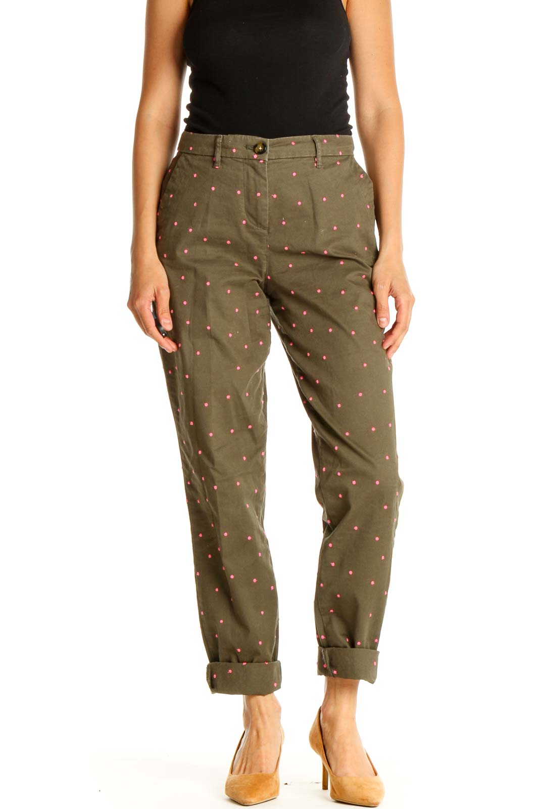 Green Polka Dot All Day Wear Trousers Front