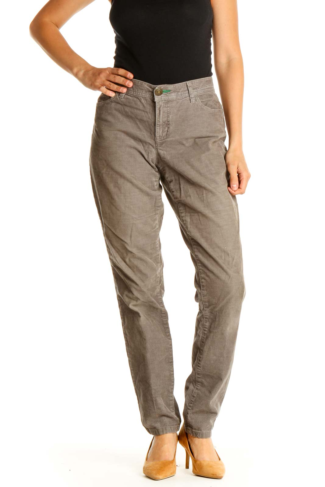 Brown Solid Casual Cargos Pants Front