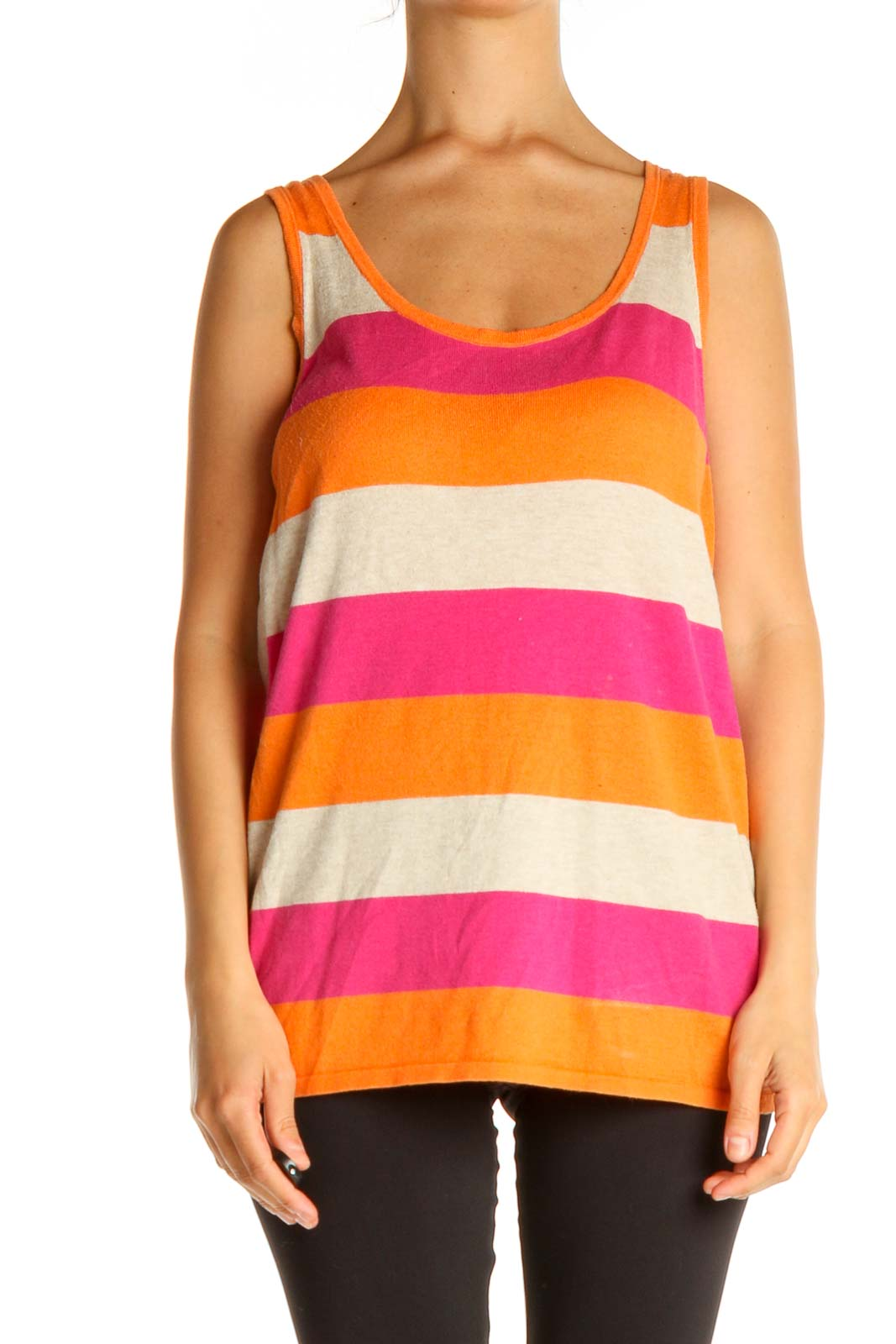 Orange Striped Casual Tank Top Front