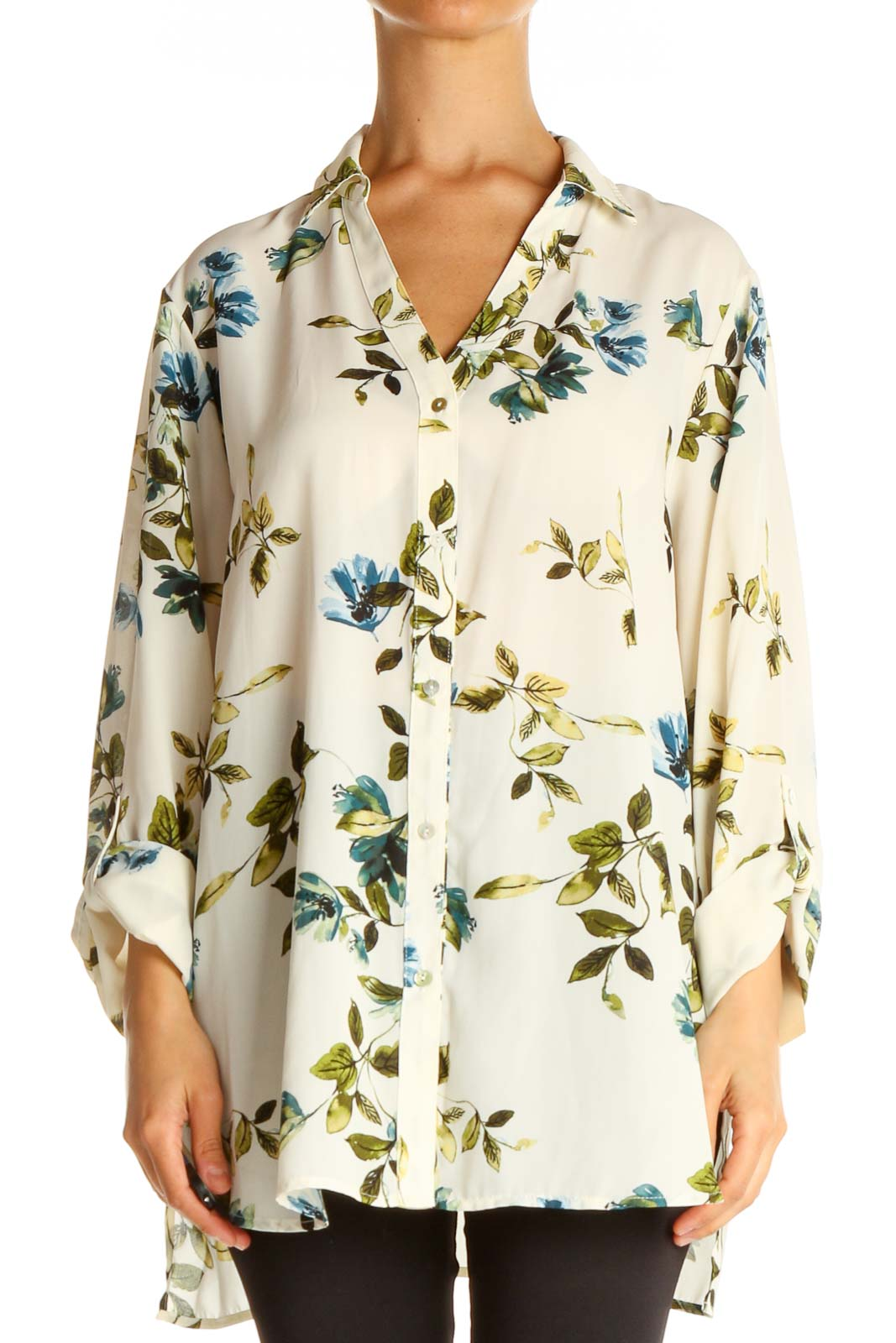 Beige Floral Print All Day Wear Shirt Front
