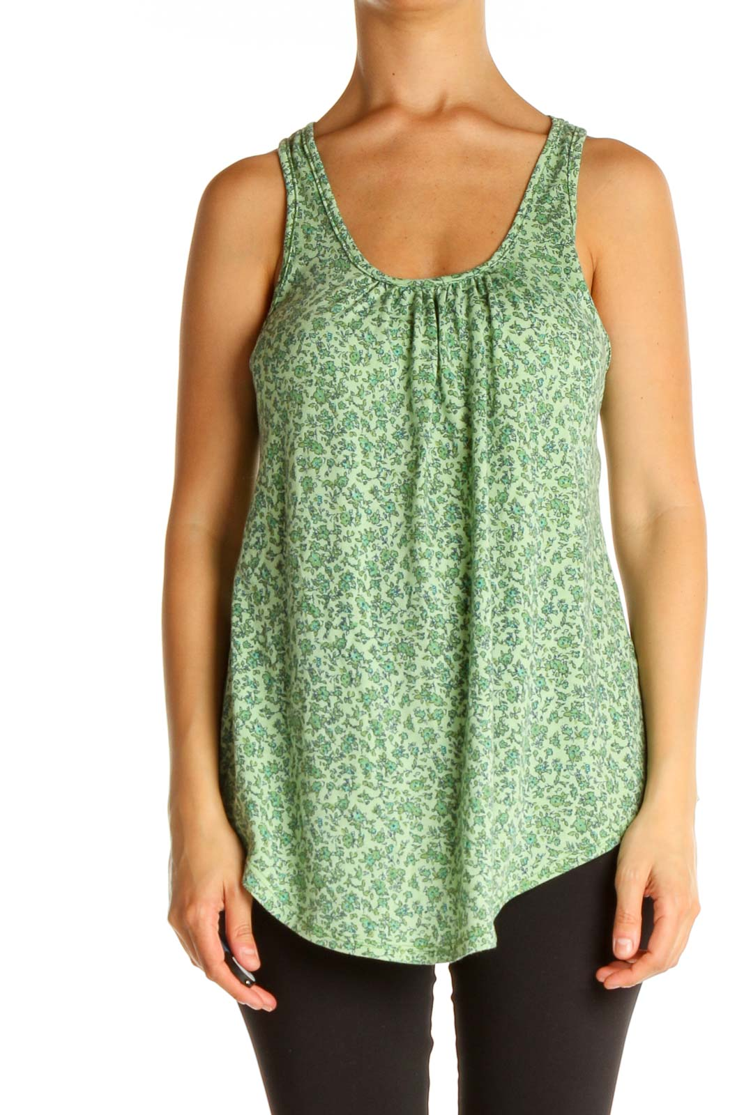 Green Floral Print Tank Top Front