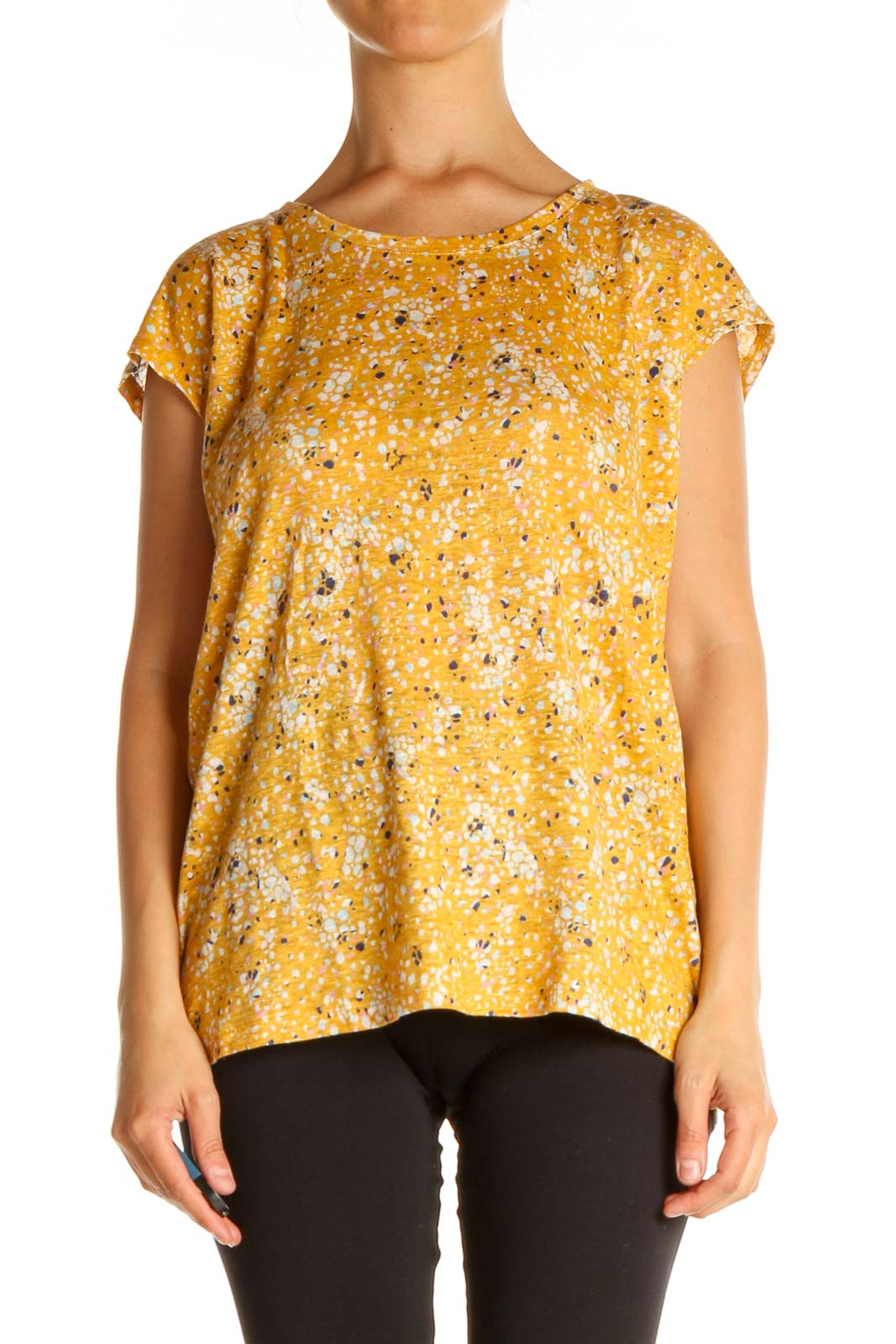 Orange Printed All Day Wear Blouse Front