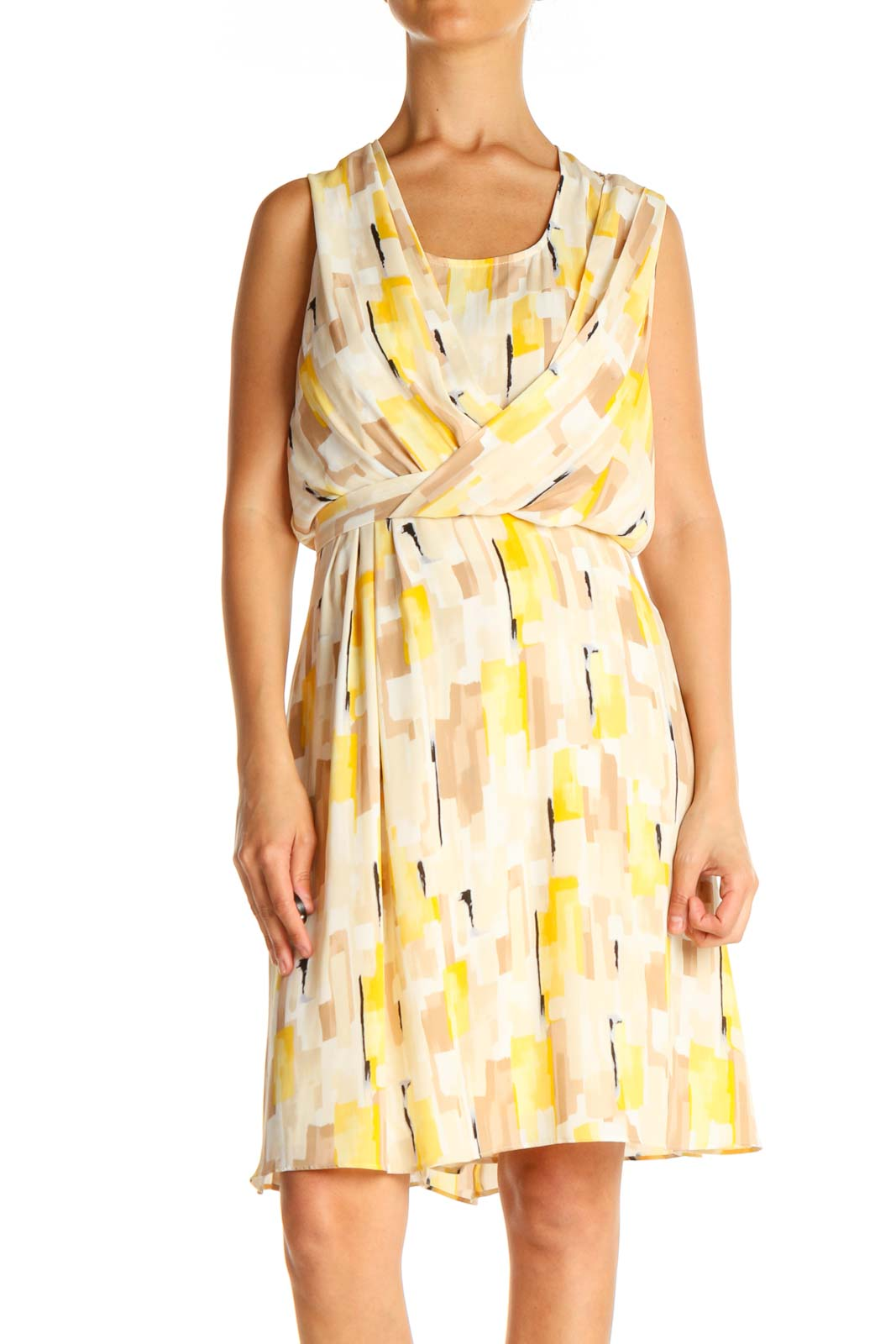 Beige Printed Retro Fit & Flare Dress Front