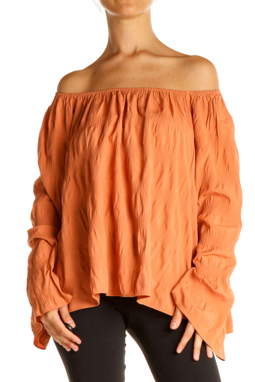Orange Solid All Day Wear Blouse Front