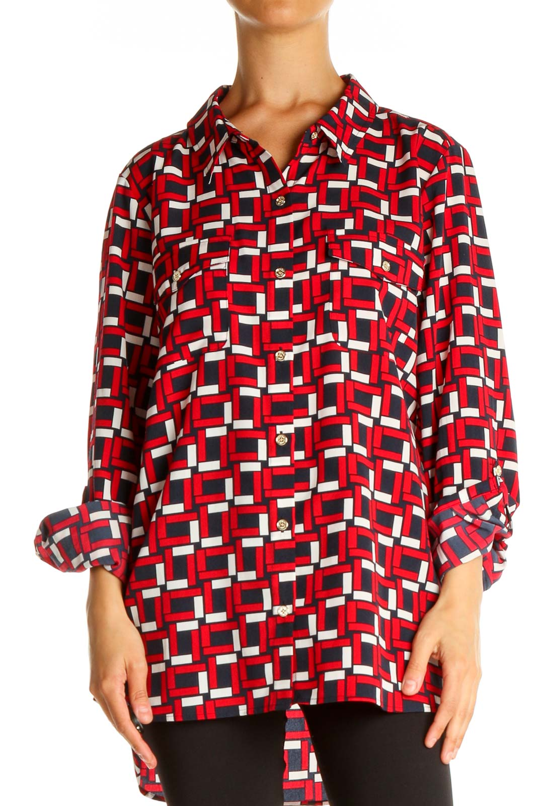 Red Geometric Print All Day Wear Shirt Front