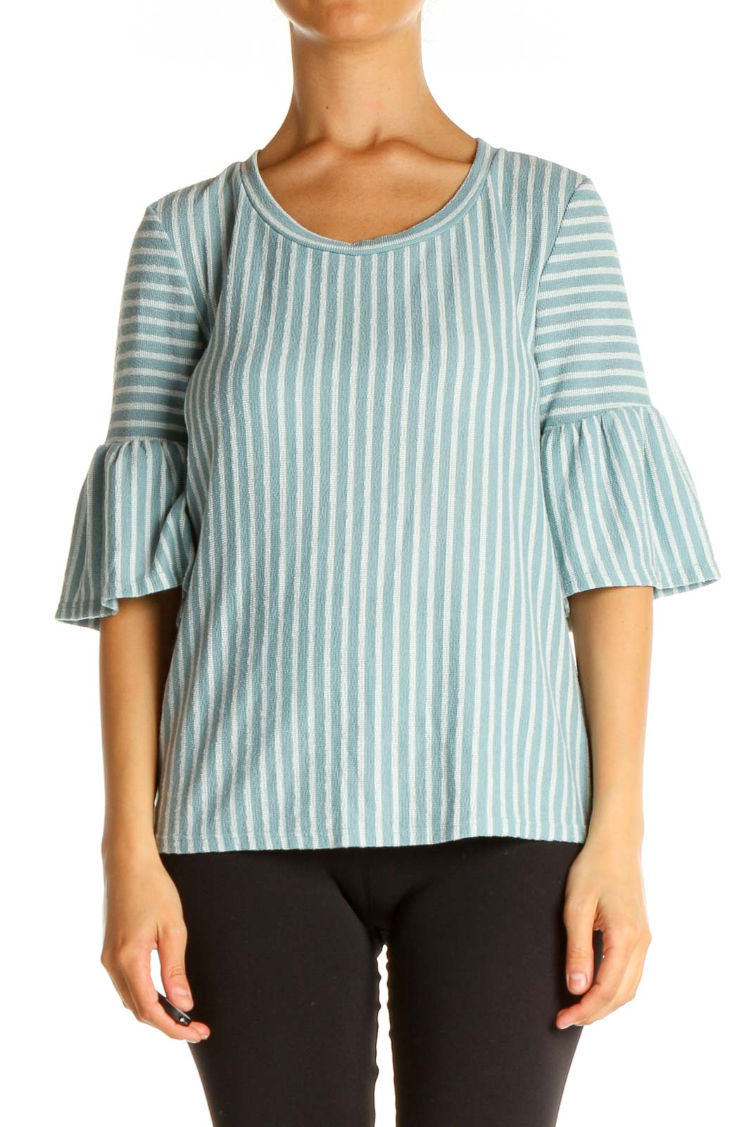 Blue Striped All Day Wear Blouse Front