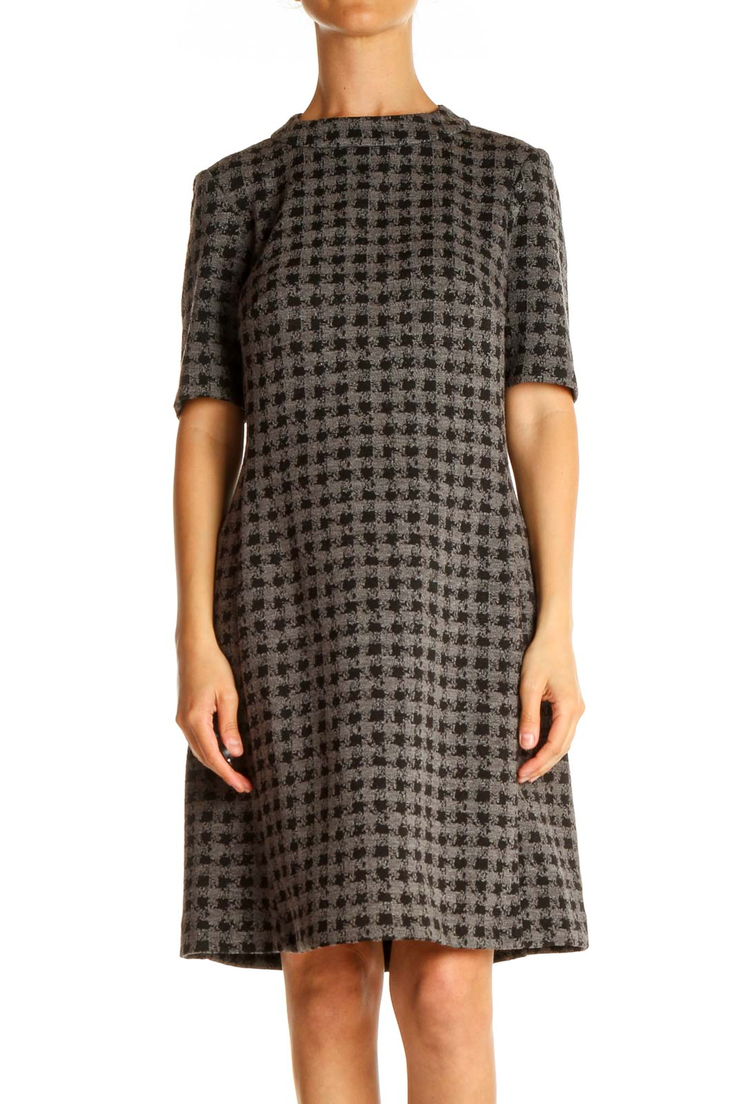 Gray Houndstooth Day A-Line Dress Front