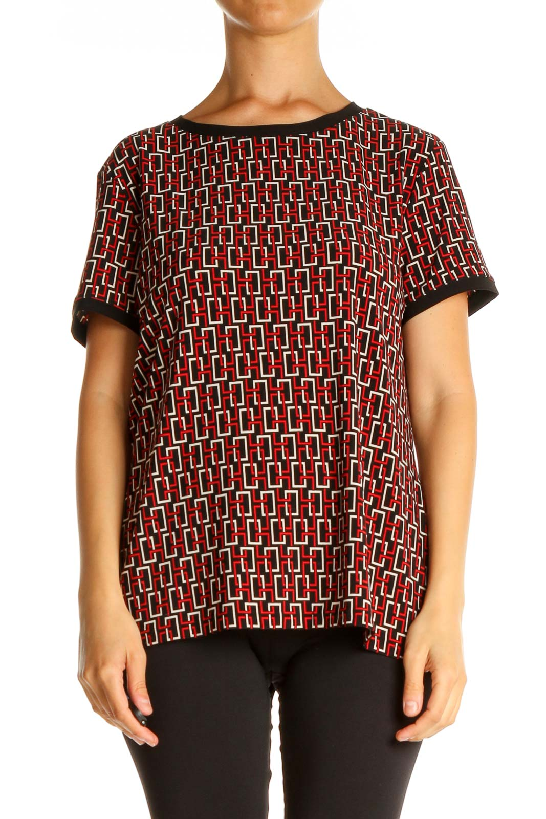 Red Geometric Print All Day Wear Blouse Front