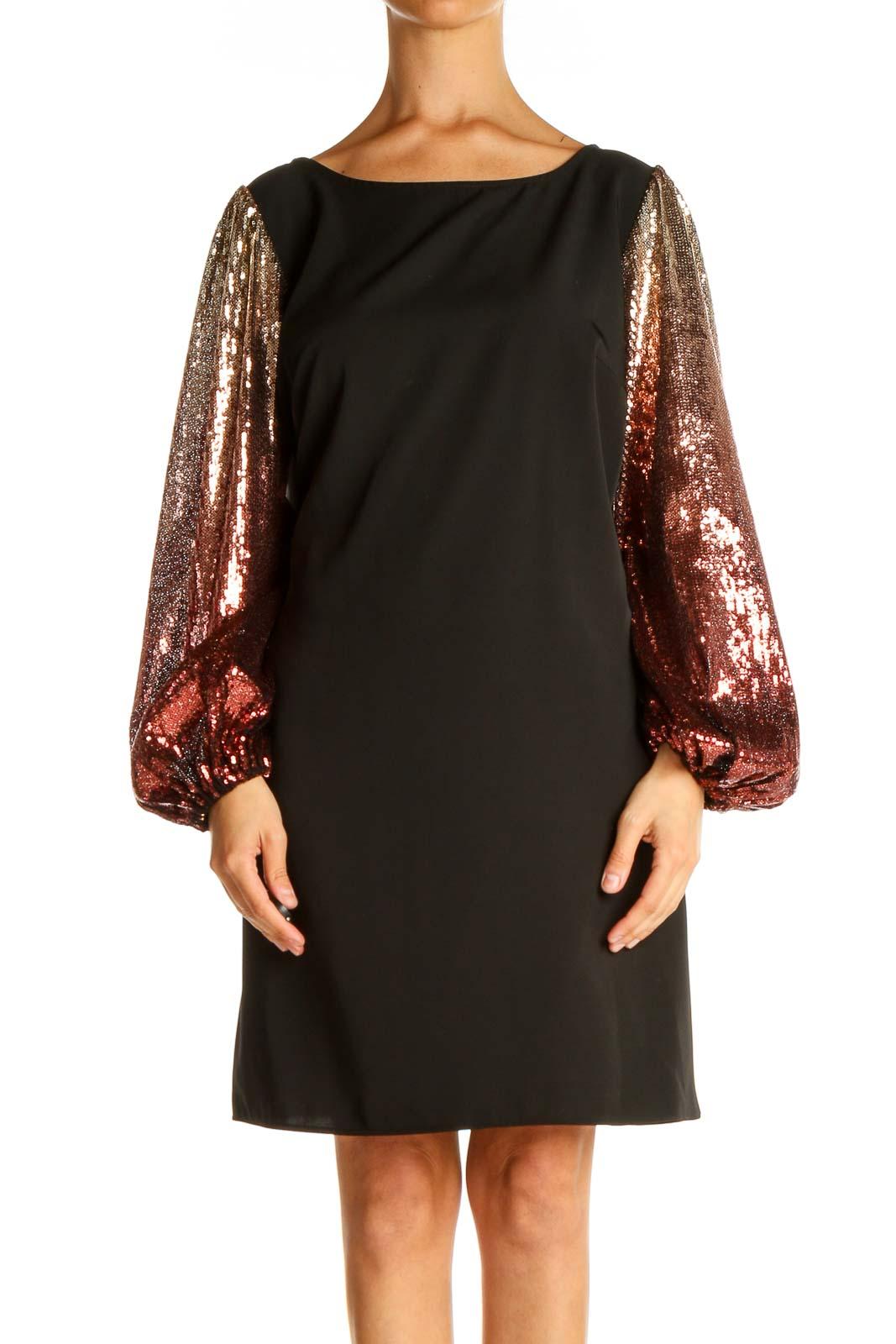 Black Sequin Cocktail Shift Dress Front