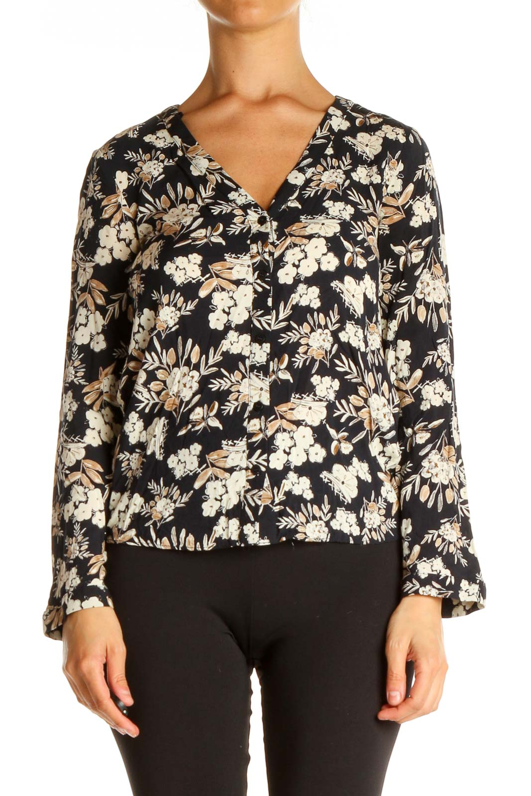 Beige Floral Print All Day Wear Blouse Front