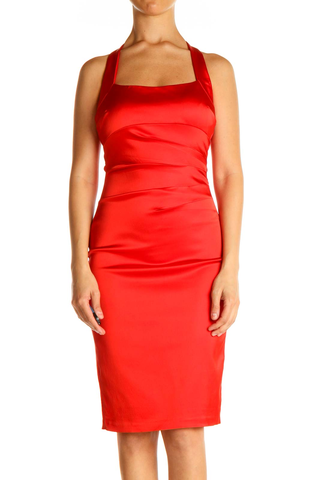 Red Solid Semiformal Sheath Dress Front