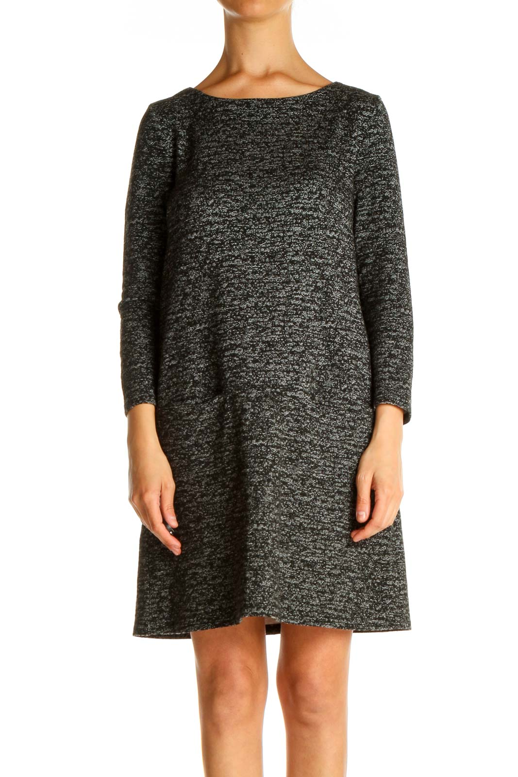 Gray Textured Day Shift Dress Front