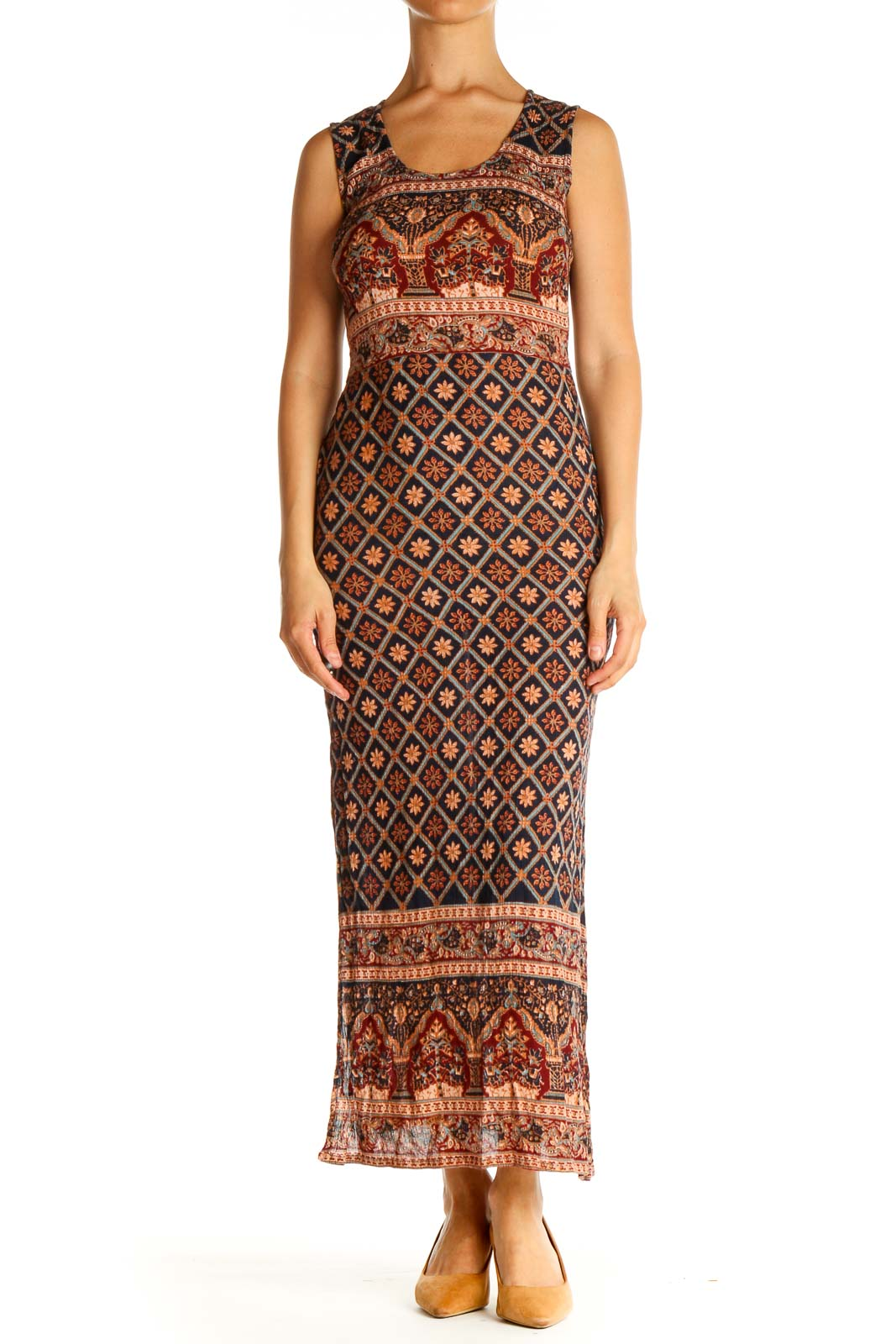 Brown Printed Bohemian Column Dress Front