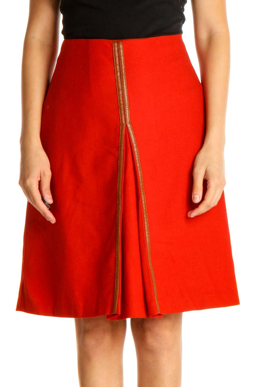 Red Colorblock Brunch A-Line Skirt Front
