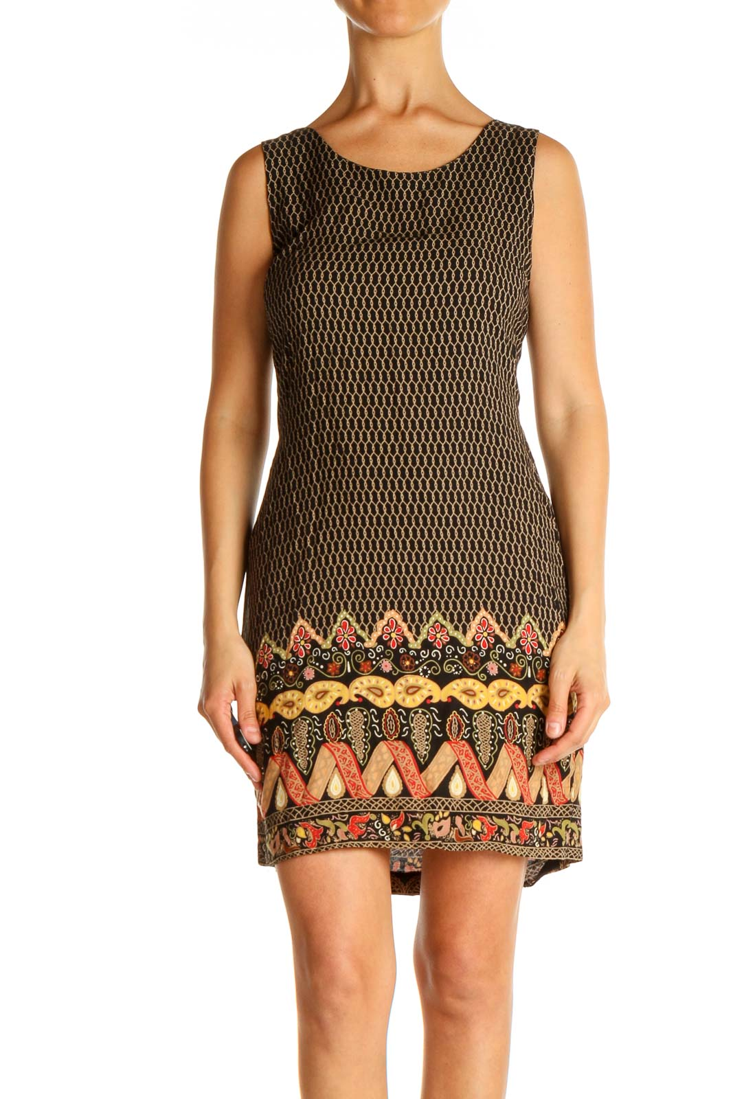 Brown Day Sheath Dress Front