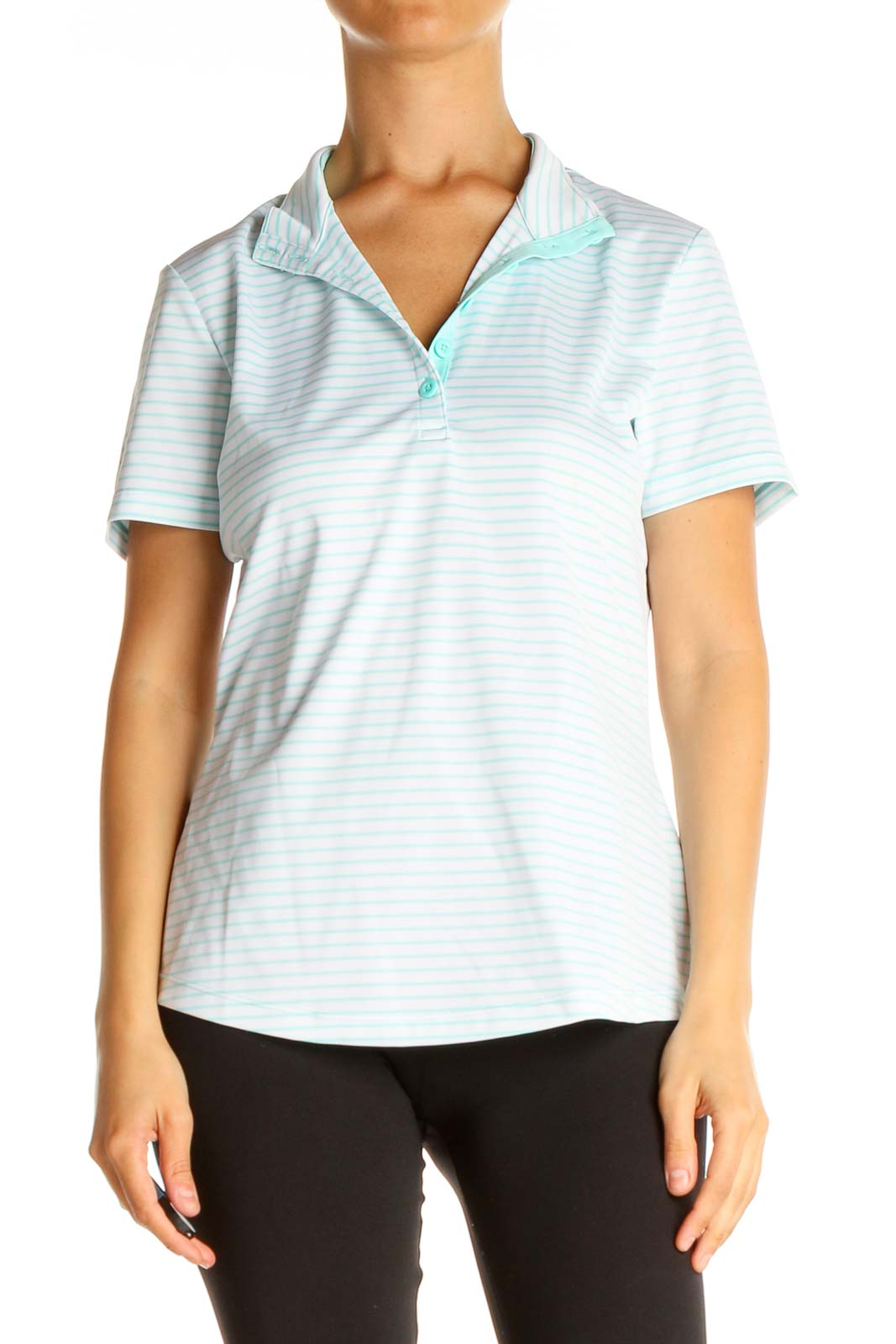 Blue Striped Casual Polo Shirt Front