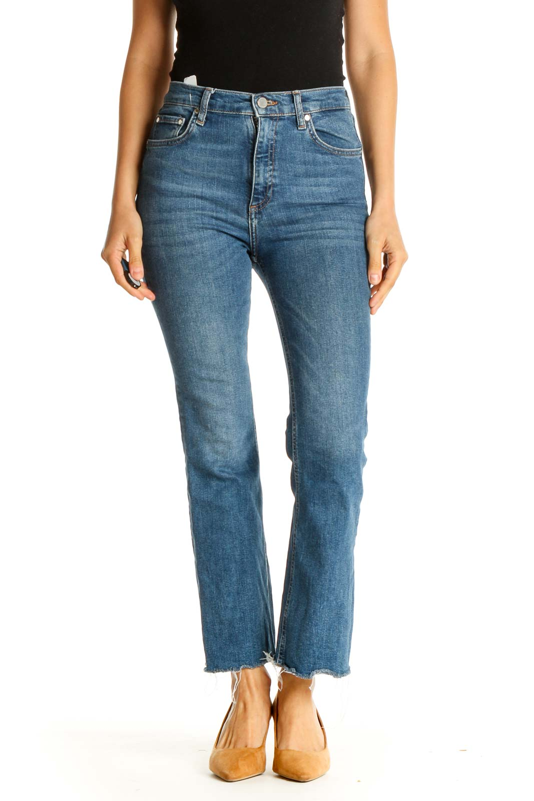 Blue High-Waist Straight Leg Jeans Front