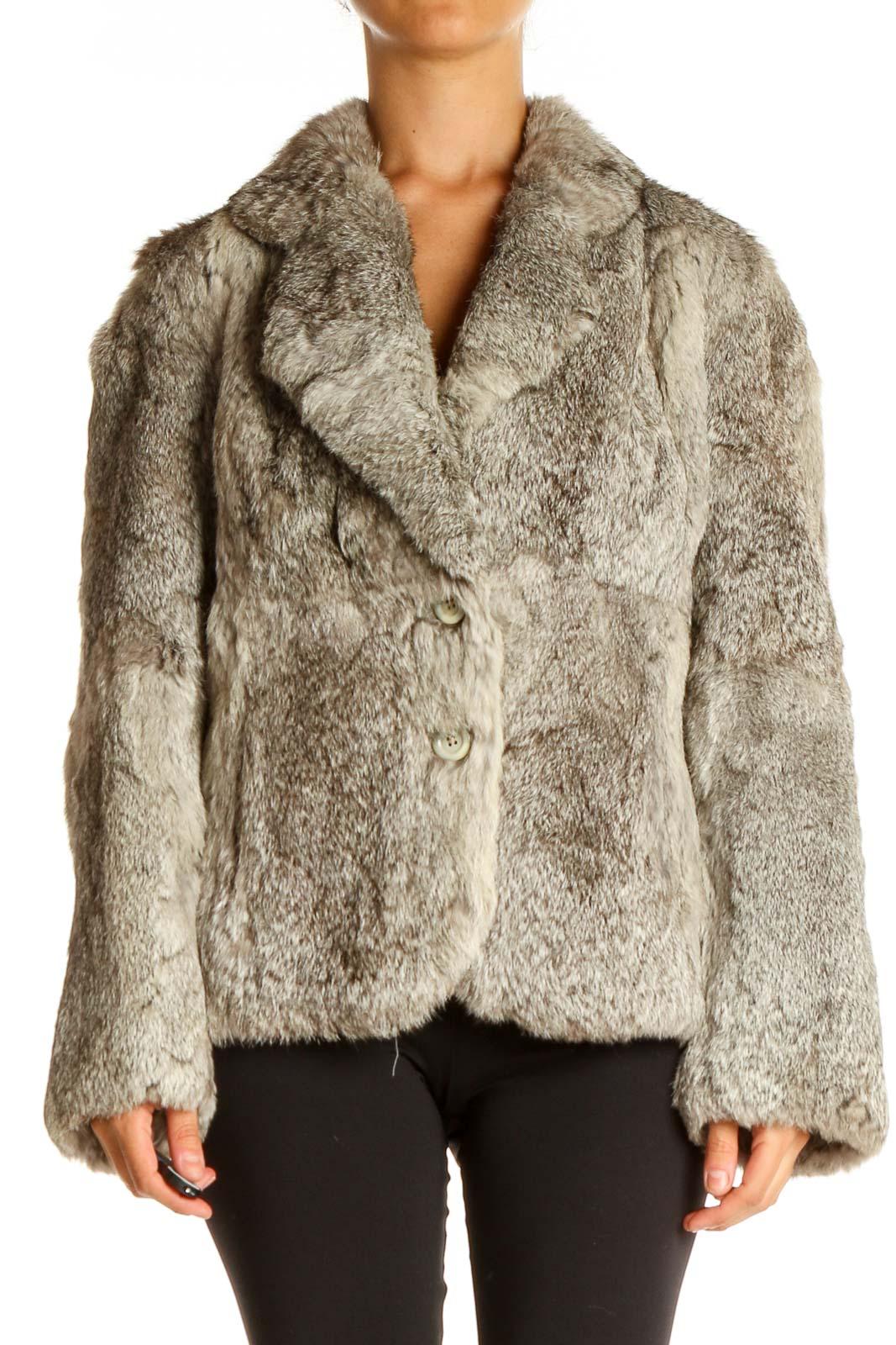 Beige Fur Coat Front
