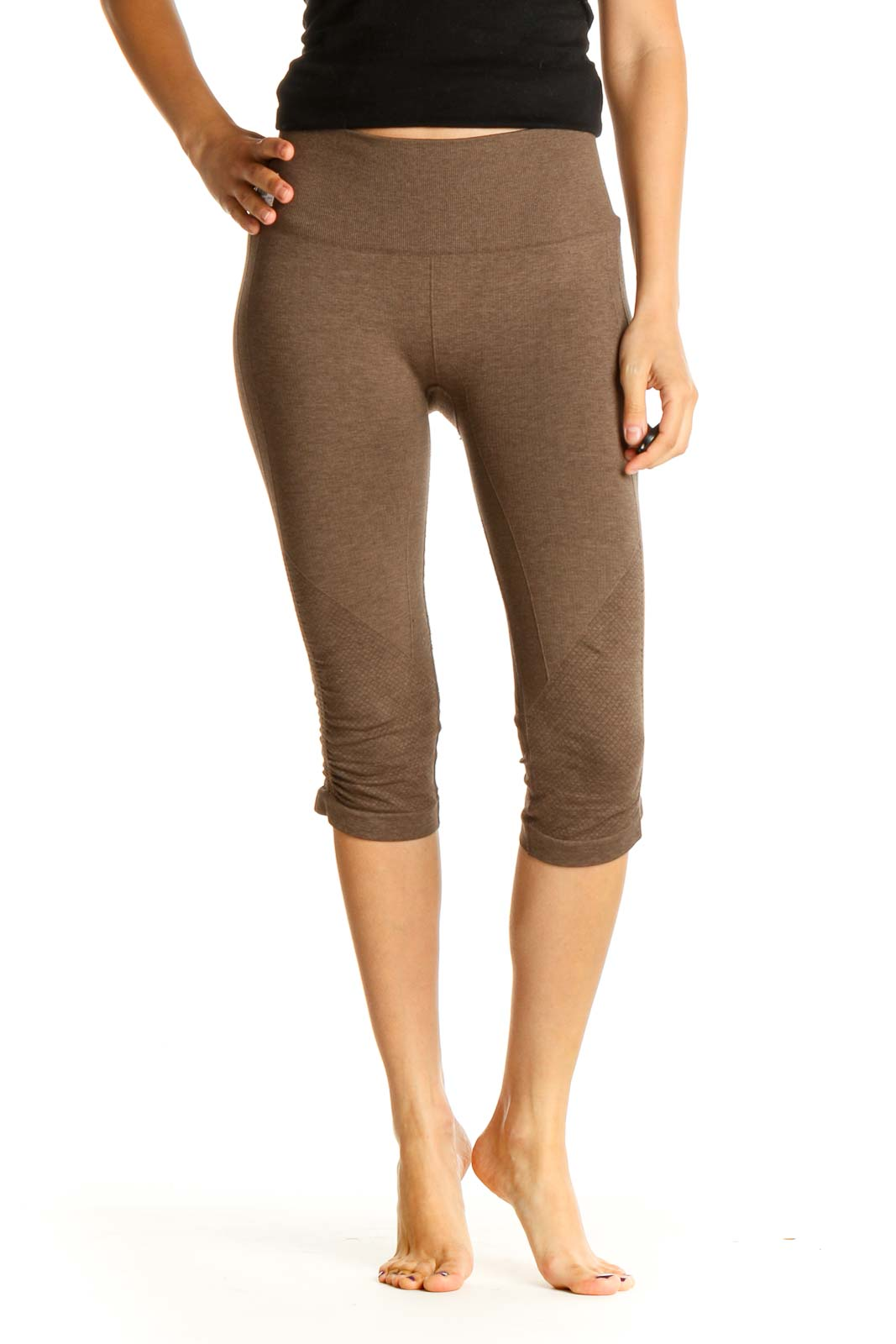 Brown Textured All Day Wear Leggings Front