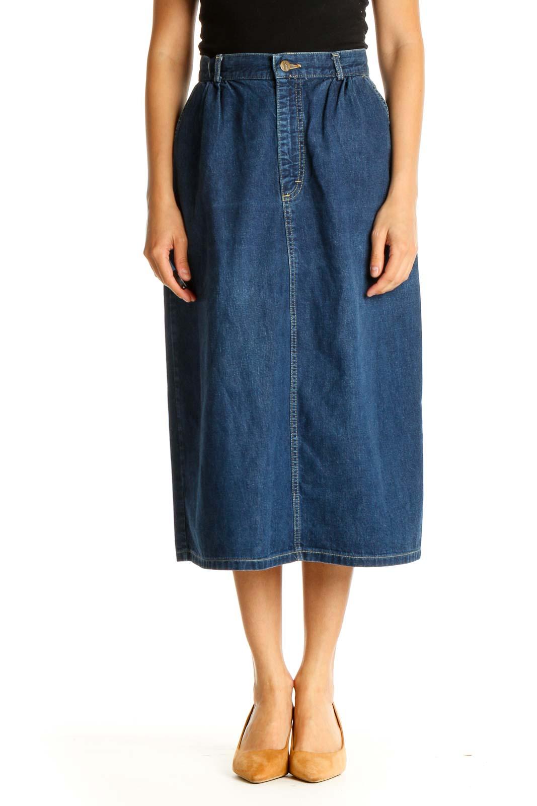 Blue Denim All Day Wear A-Line Skirt Front