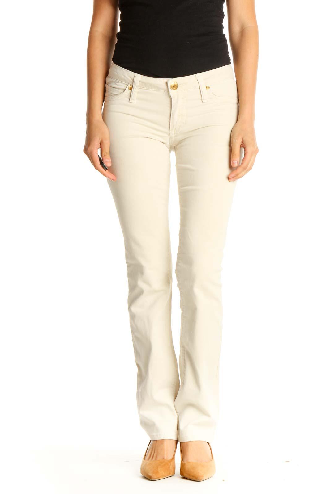 Beige All Day Wear Pants Front