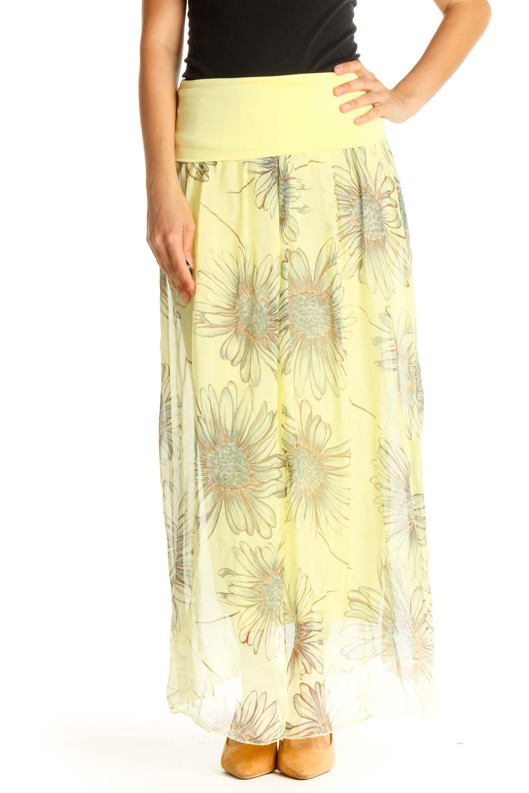 Yellow Floral Print Holiday A-Line Skirt Front