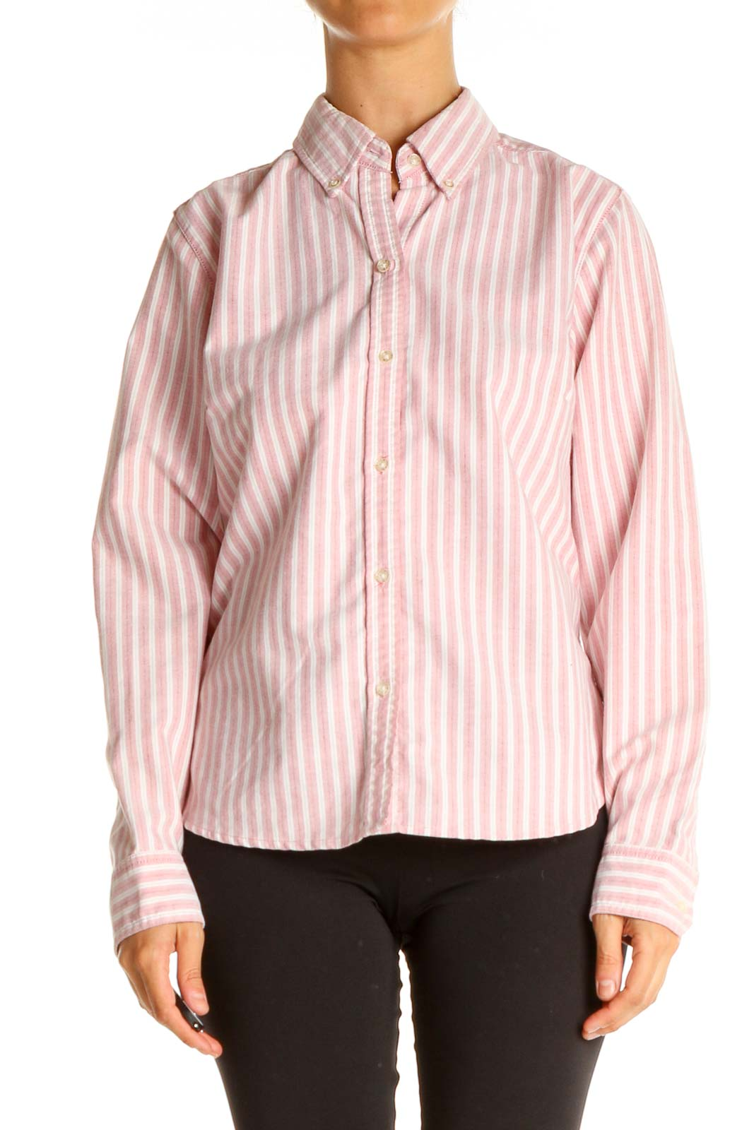 Pink Striped All Day Wear Shirt Front
