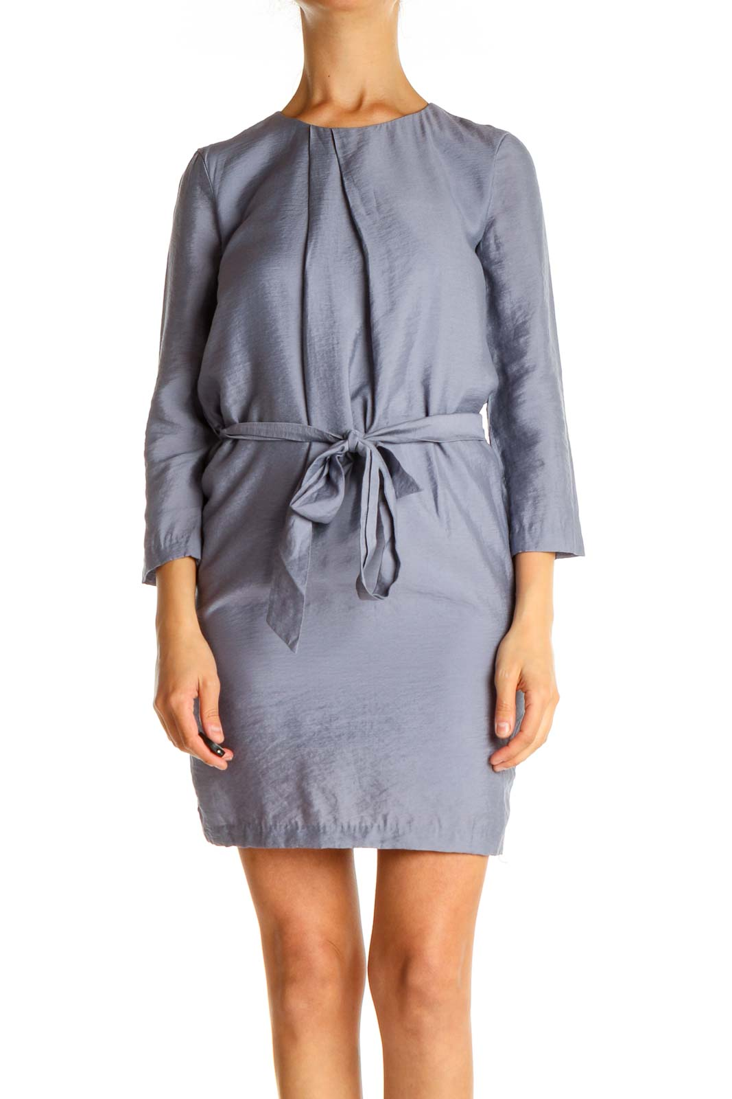 Gray Solid Tie Sheath Dress Front