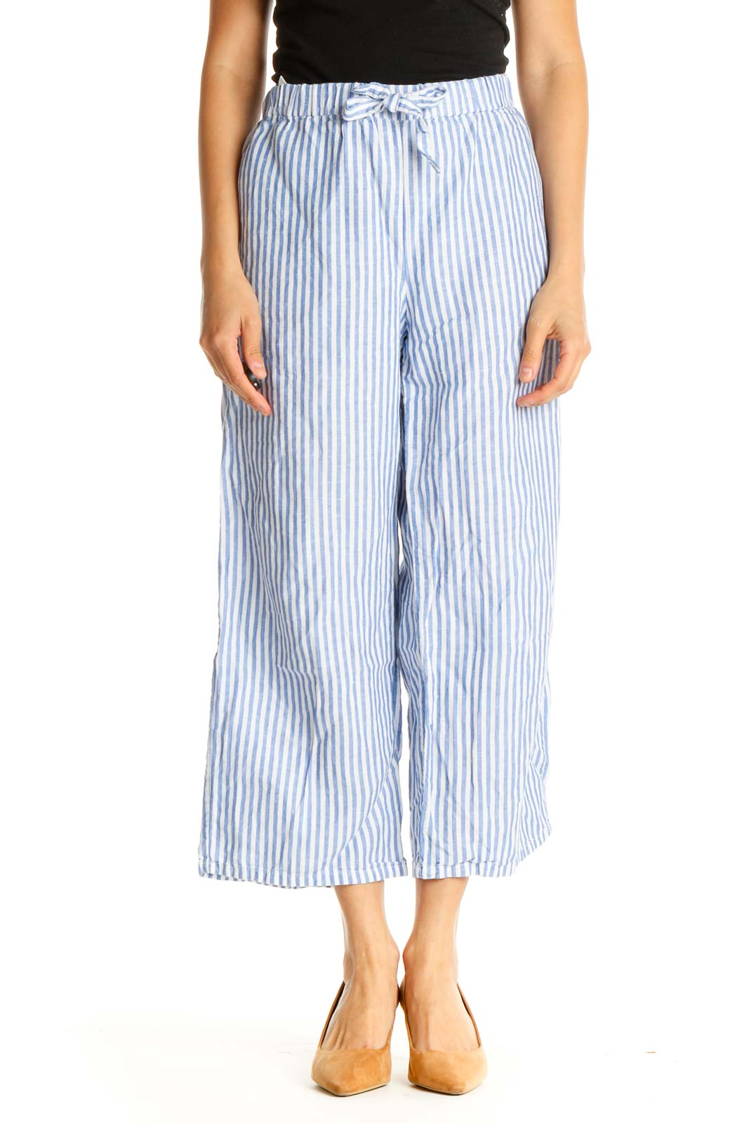 Blue Striped All Day Wear Culottes Pants Front
