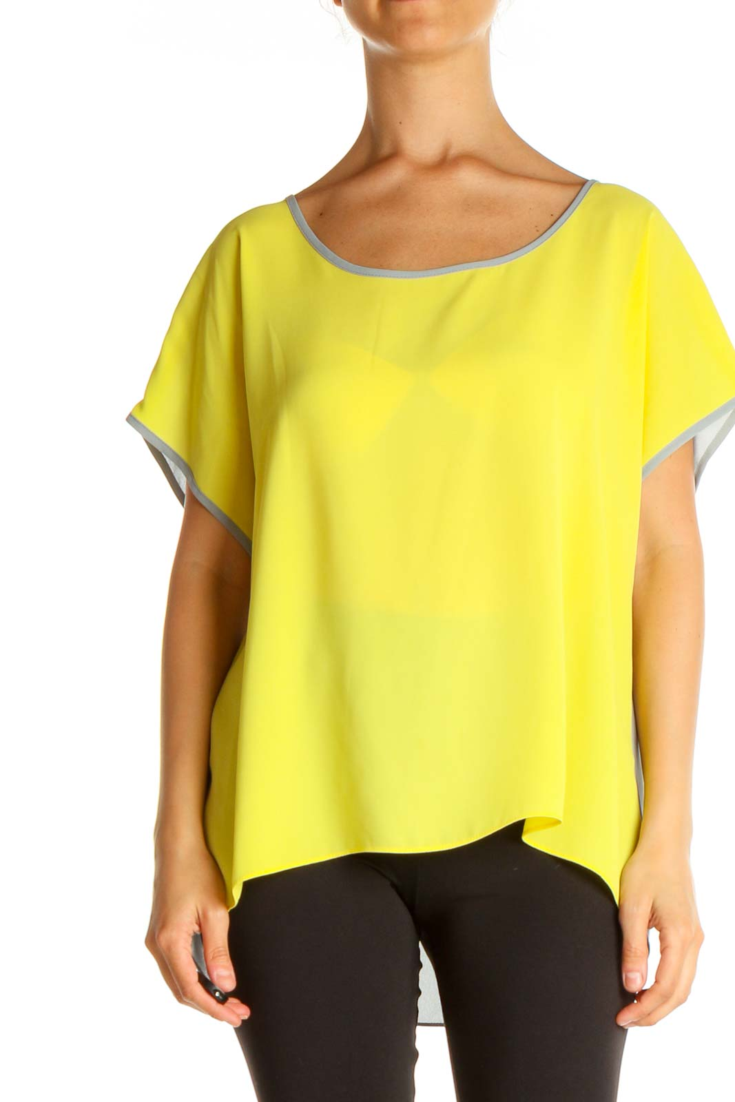 Yellow Colorblock Casual Blouse Front