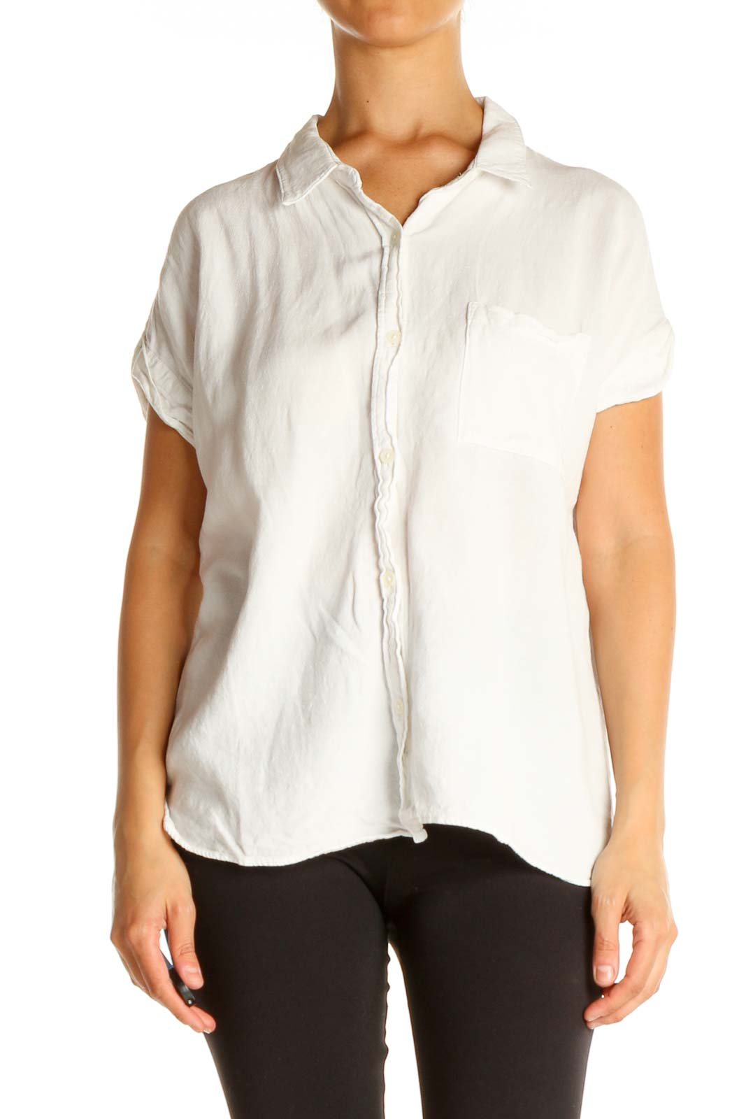 White Solid All Day Wear Shirt Front