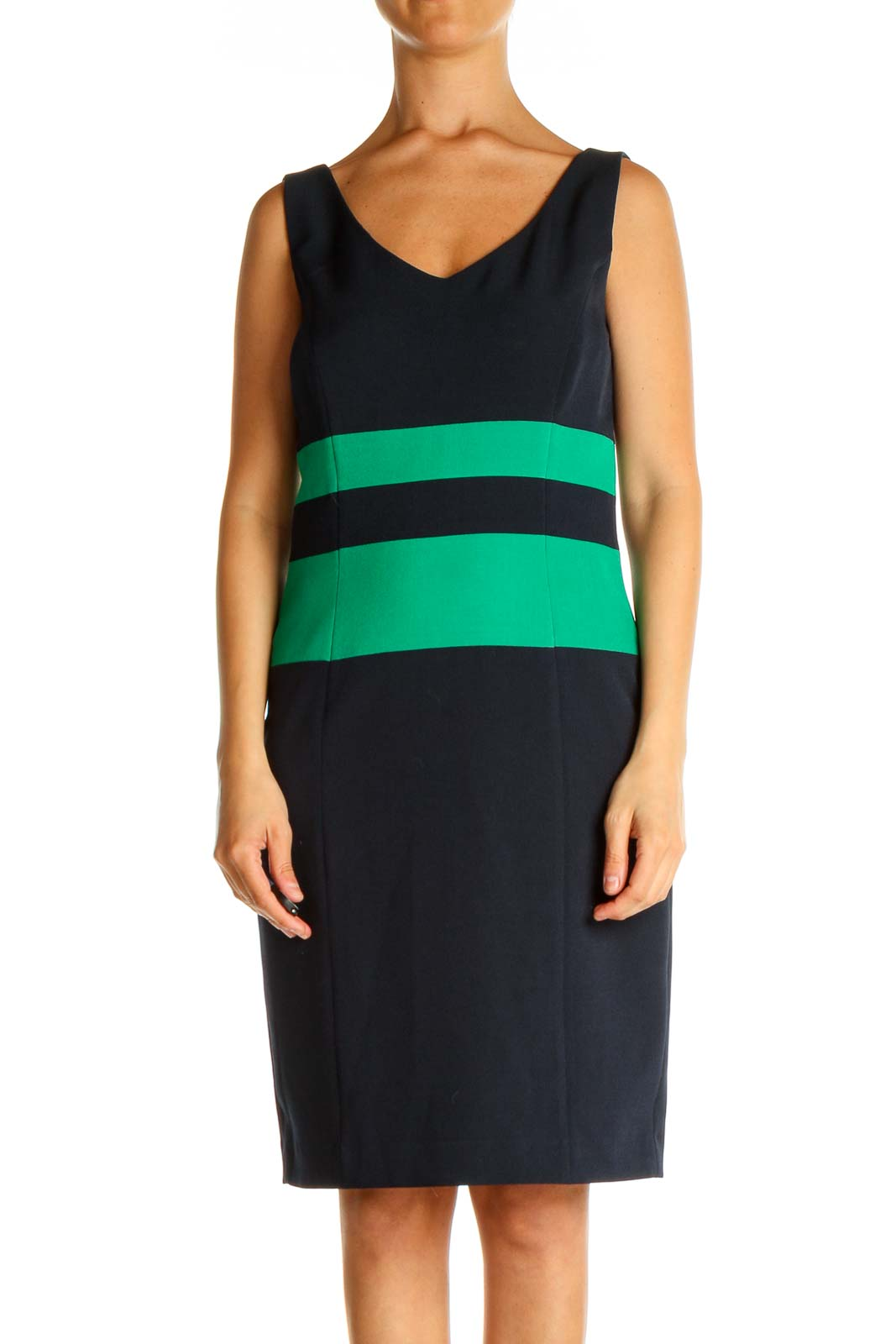 Blue Striped Day Shift Dress Front