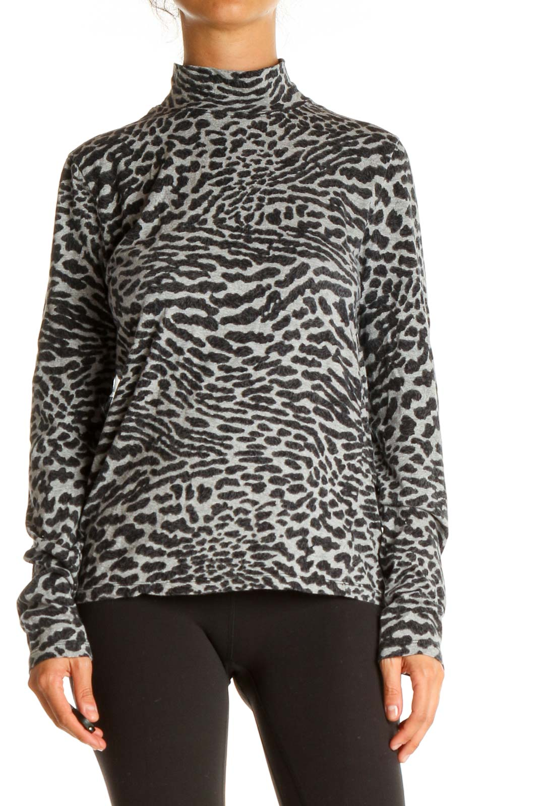 Black Animal Print All Day Wear Top Front