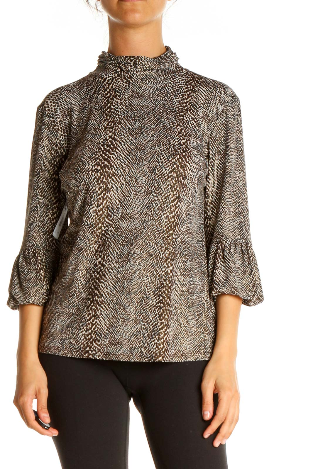 Gray Animal Print All Day Wear Top Front