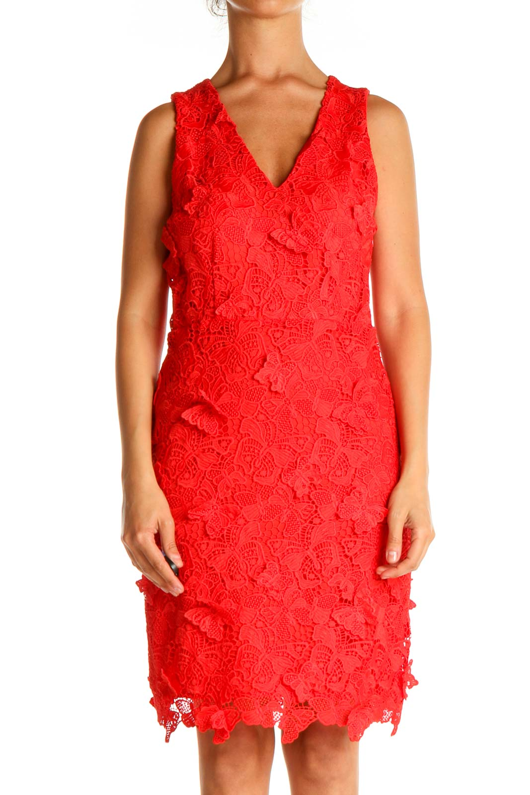 Red Lace Day Sheath Dress Front