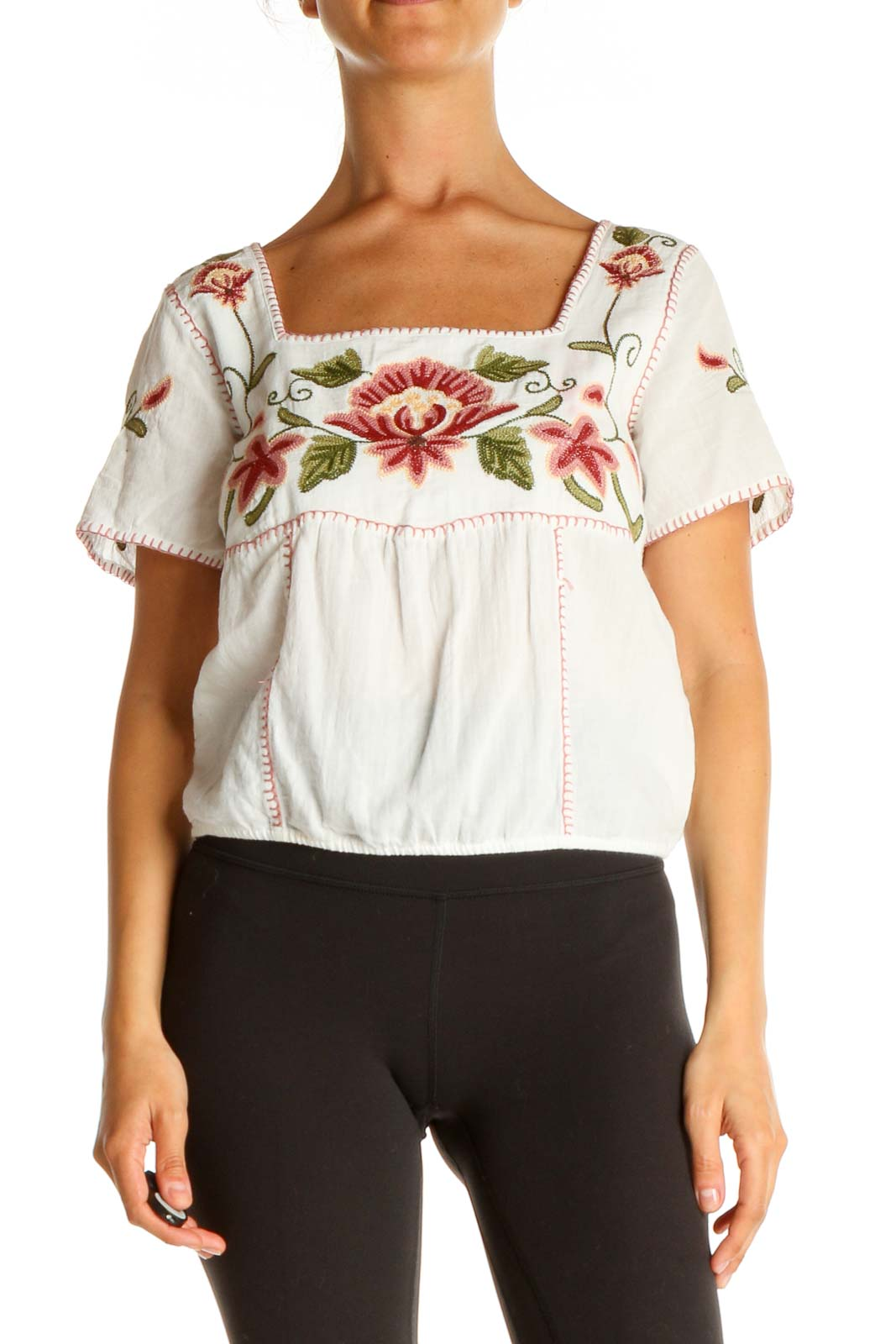 White Floral All Day Wear Blouse Front