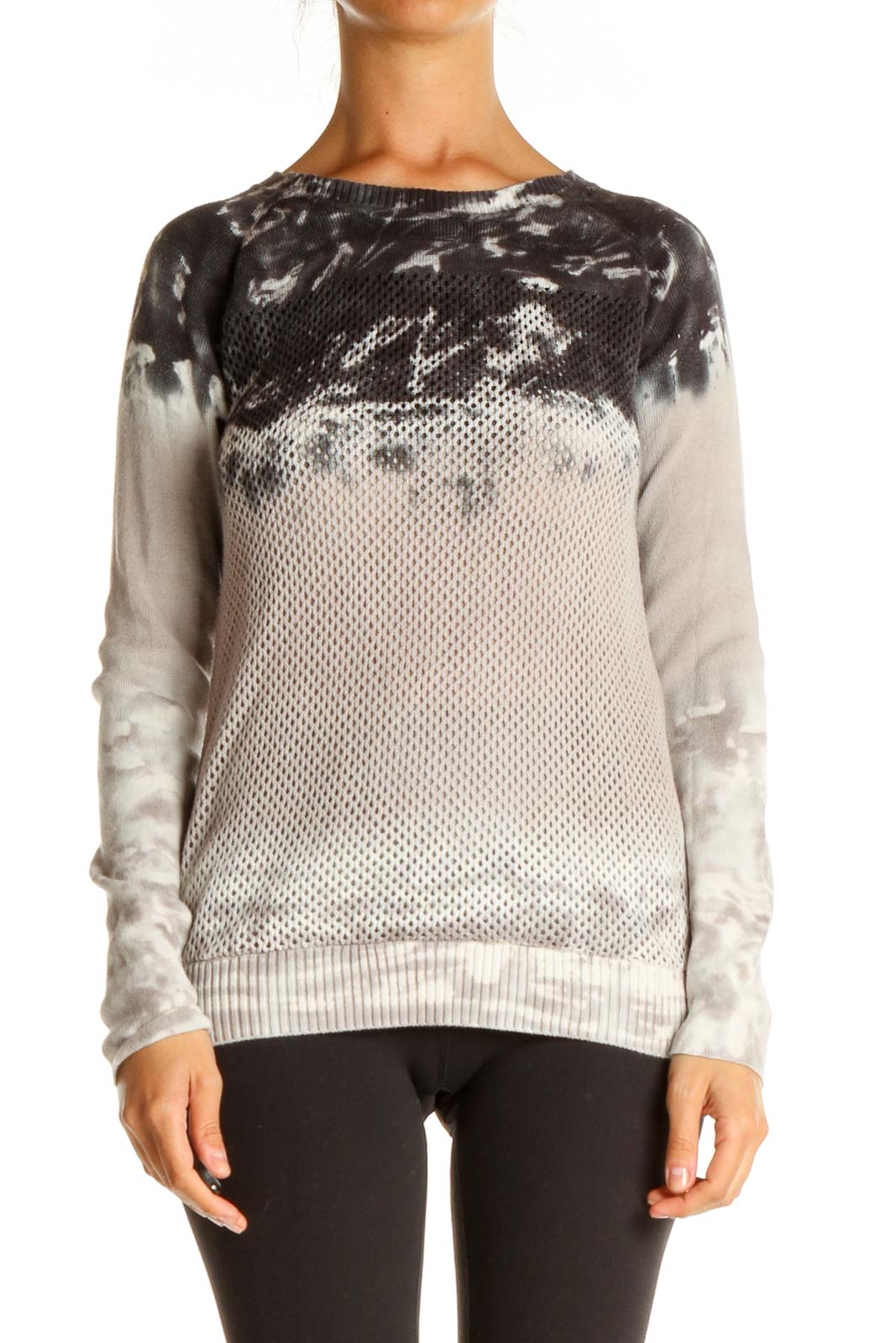 Gray Tie And Dye All Day Wear Sweater Front