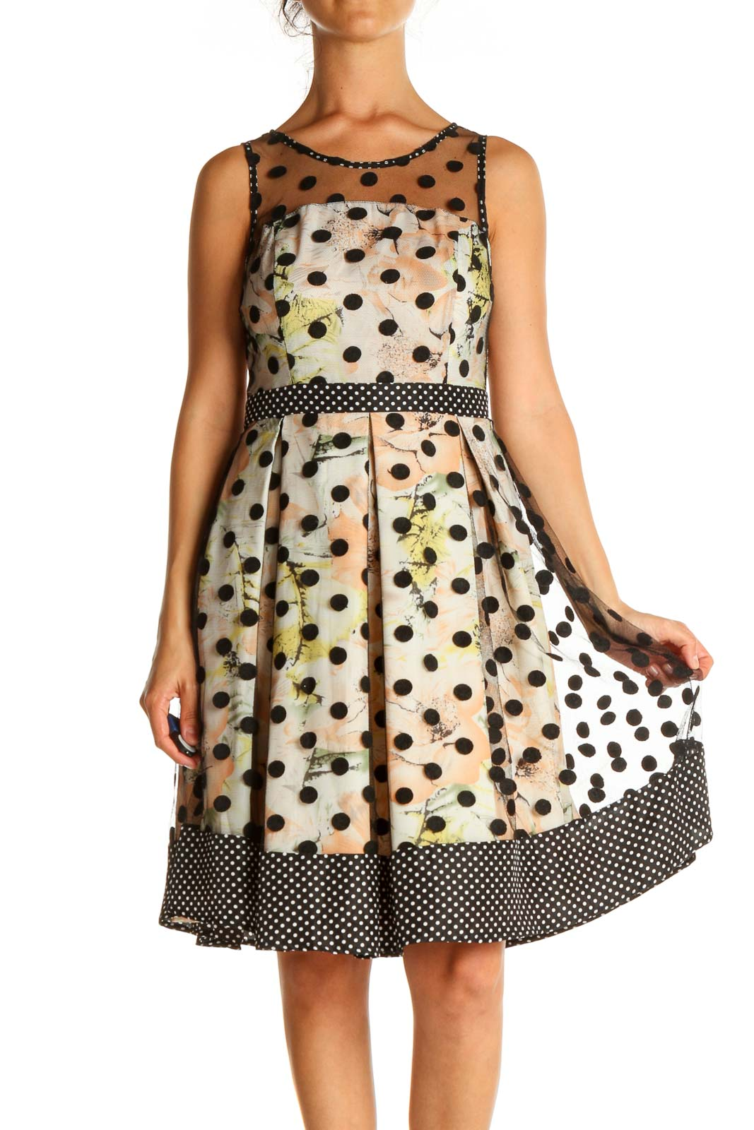 Beige Polka Dot Day Fit & Flare Dress Front