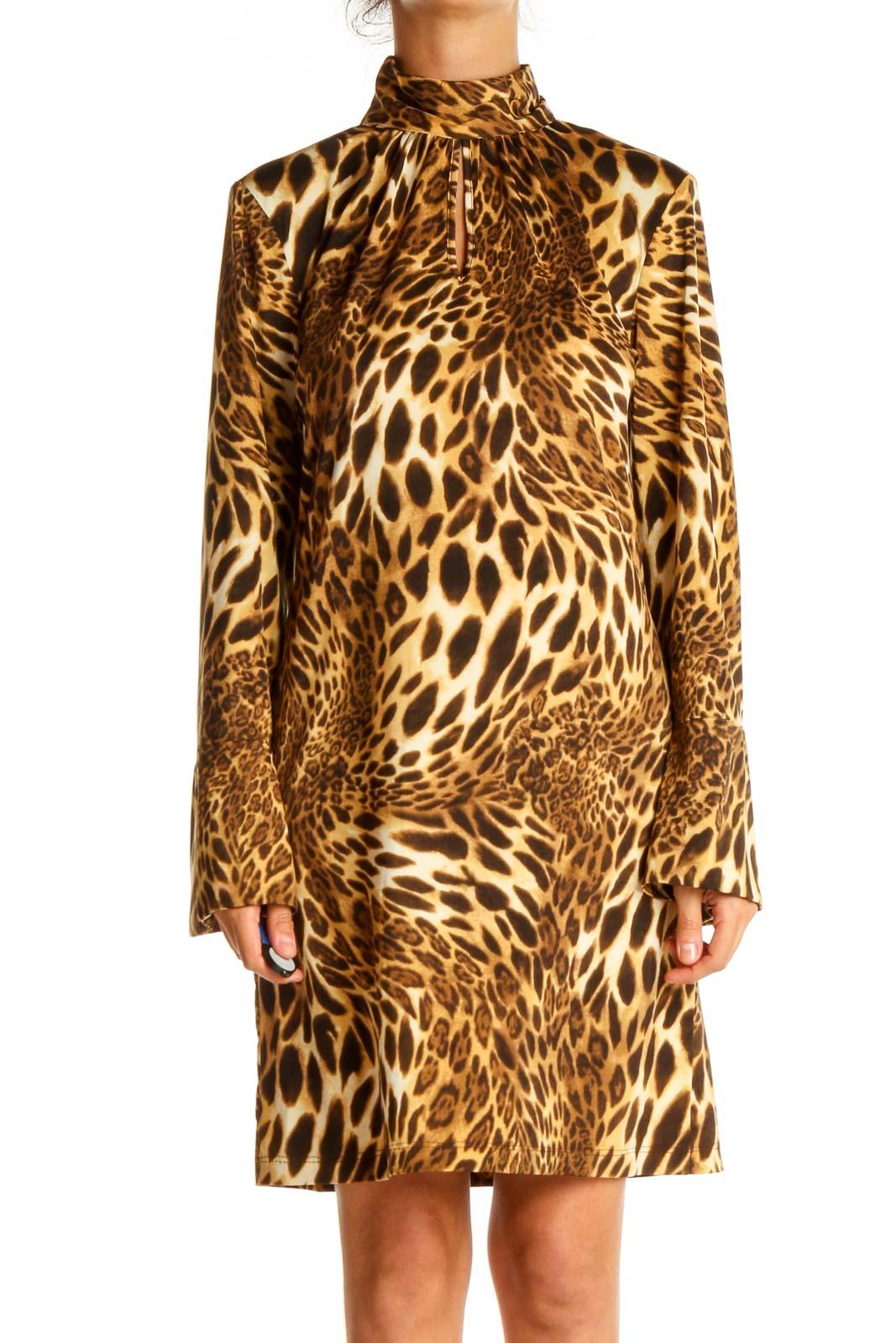 Brown Animal Print Day Sheath Dress Front