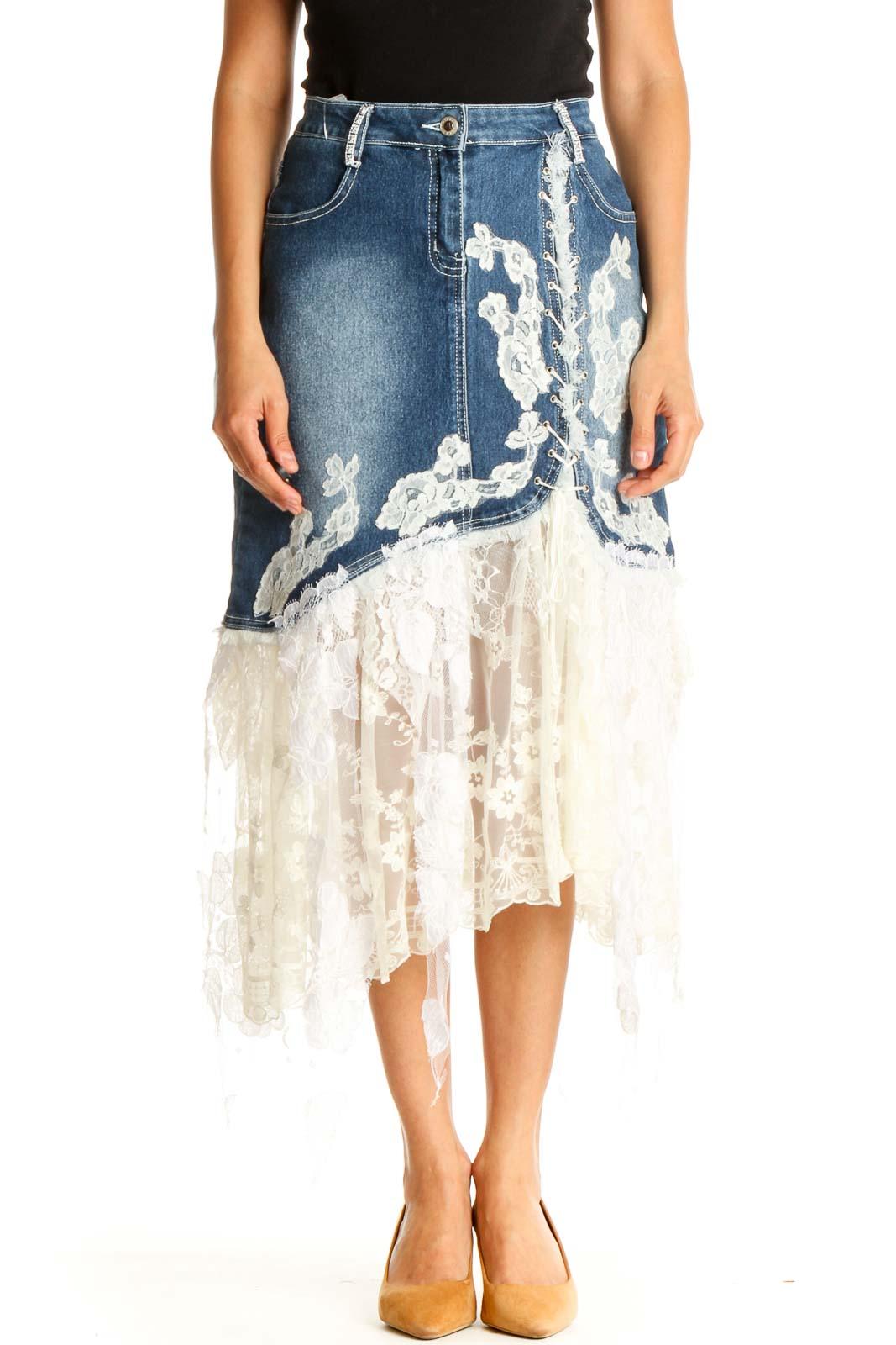 Blue Lace Party A-Line Skirt Front