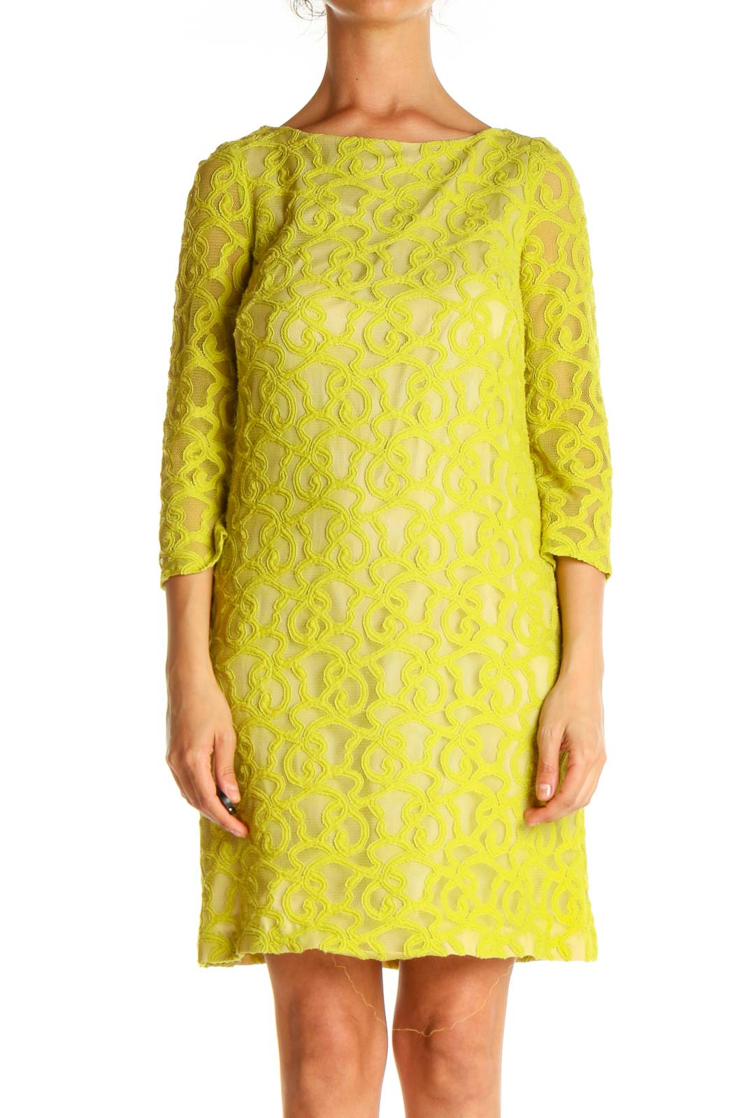 Yellow Lace Day Shift Dress Front