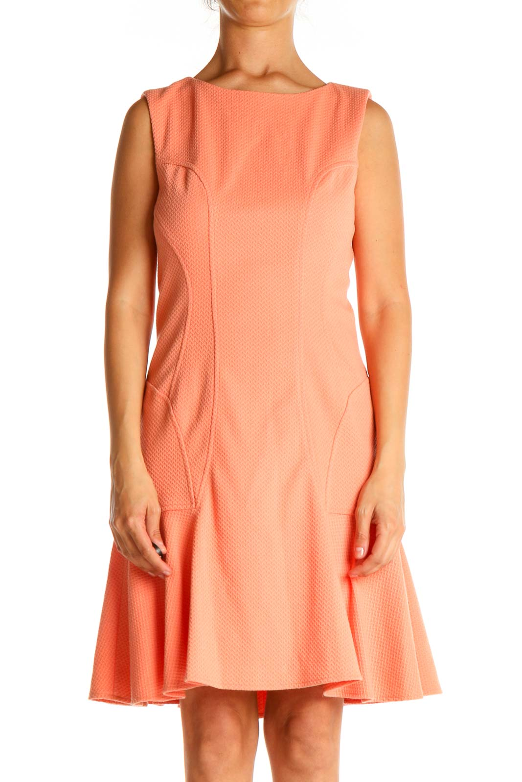 Pink Solid Chic Fit & Flare Dress Front