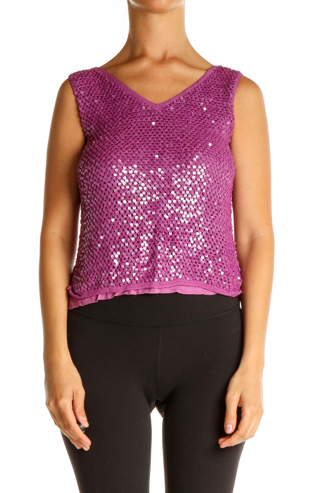 Purple Sequin Party Blouse Front