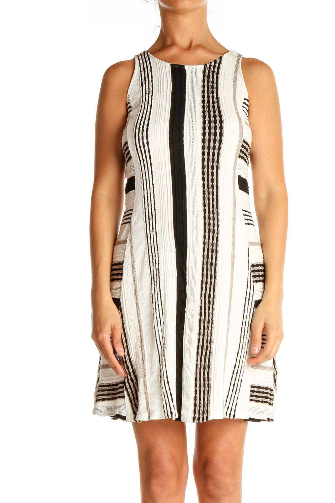 White Striped Day A-Line Dress Front