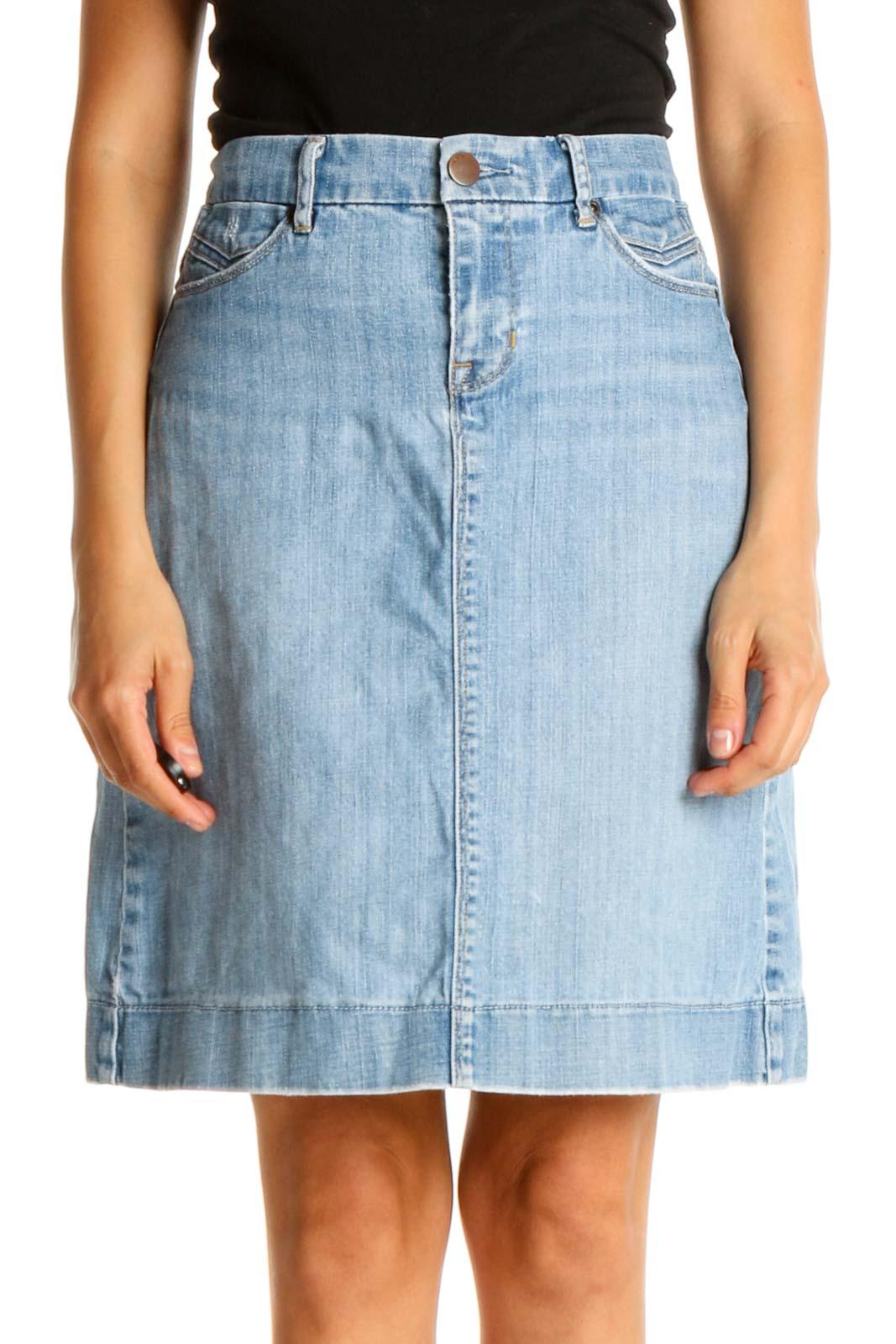 Blue Denim Chic A-Line Skirt Front