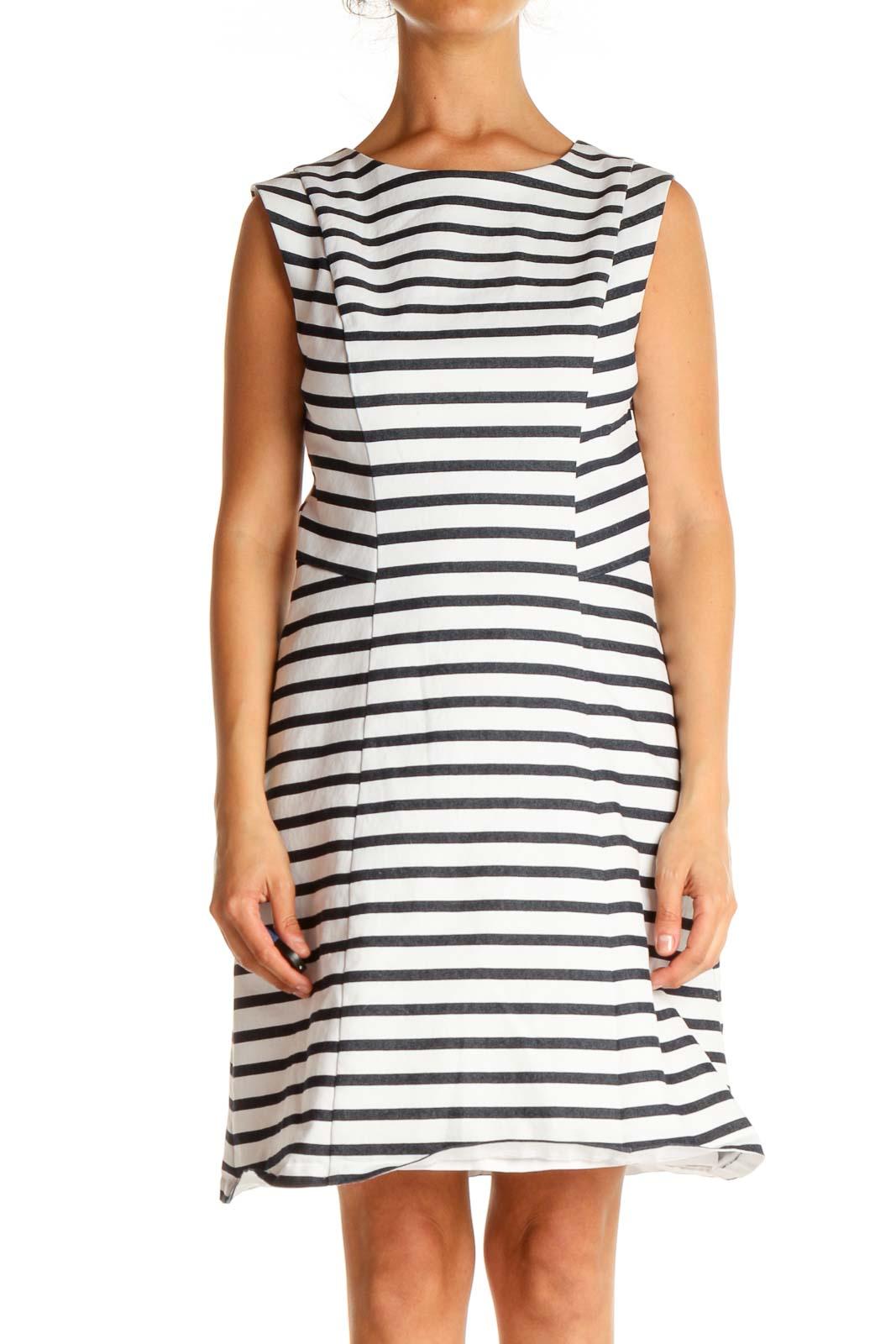 White Striped Day Sheath Dress Front
