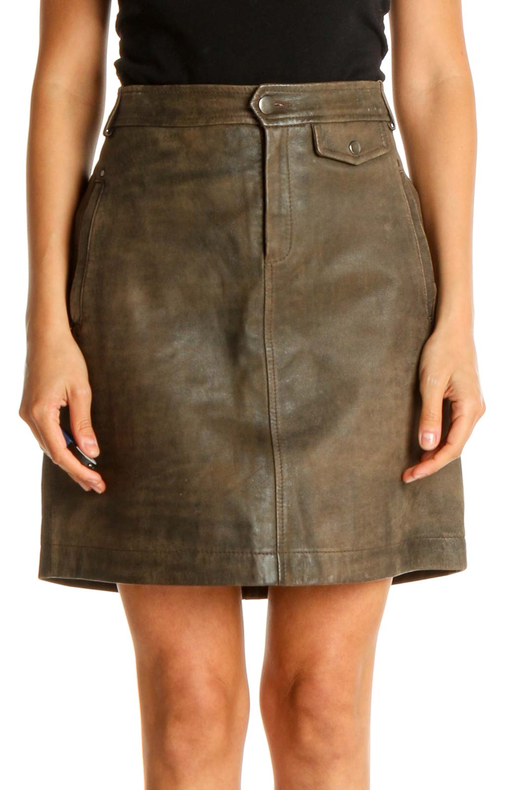 Green Brown Chic A-Line Leather Skirt Front