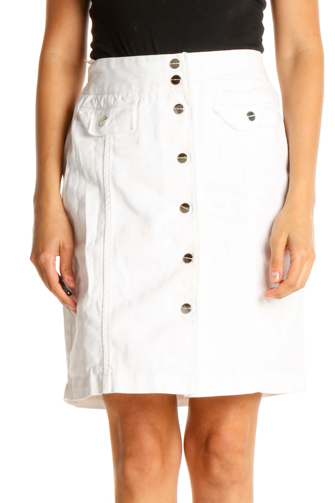White Solid Brunch A-Line Skirt Front