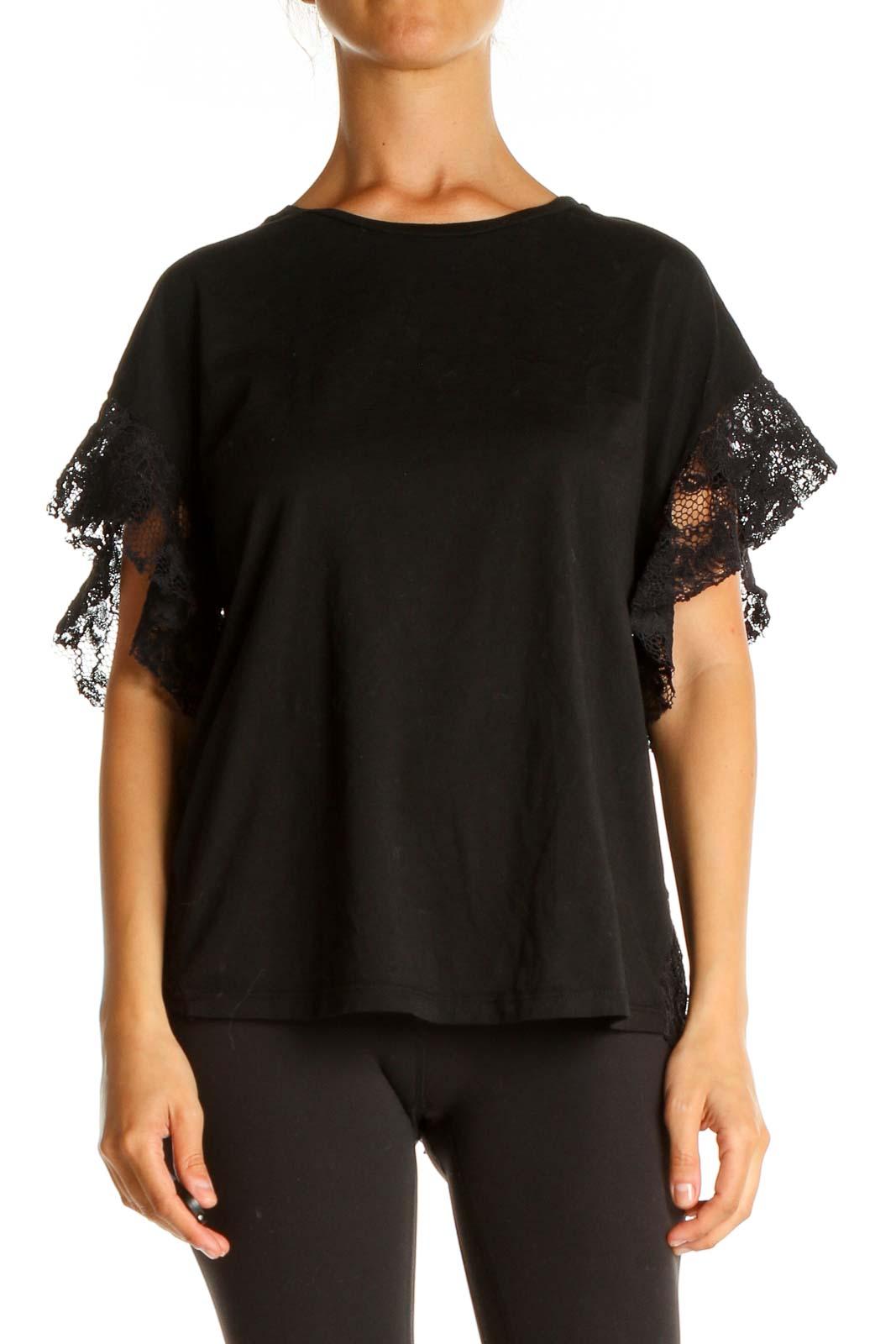 Black Lace Brunch T-Shirt Front